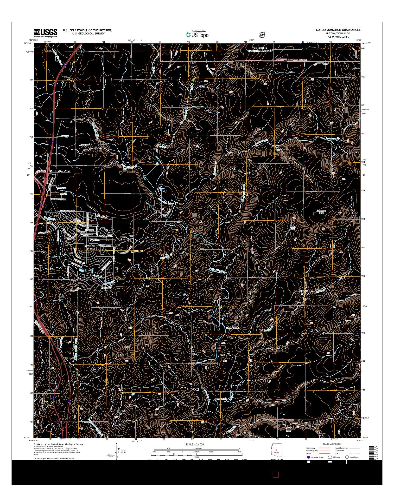 USGS US TOPO 7.5-MINUTE MAP FOR CORDES JUNCTION, AZ 2014
