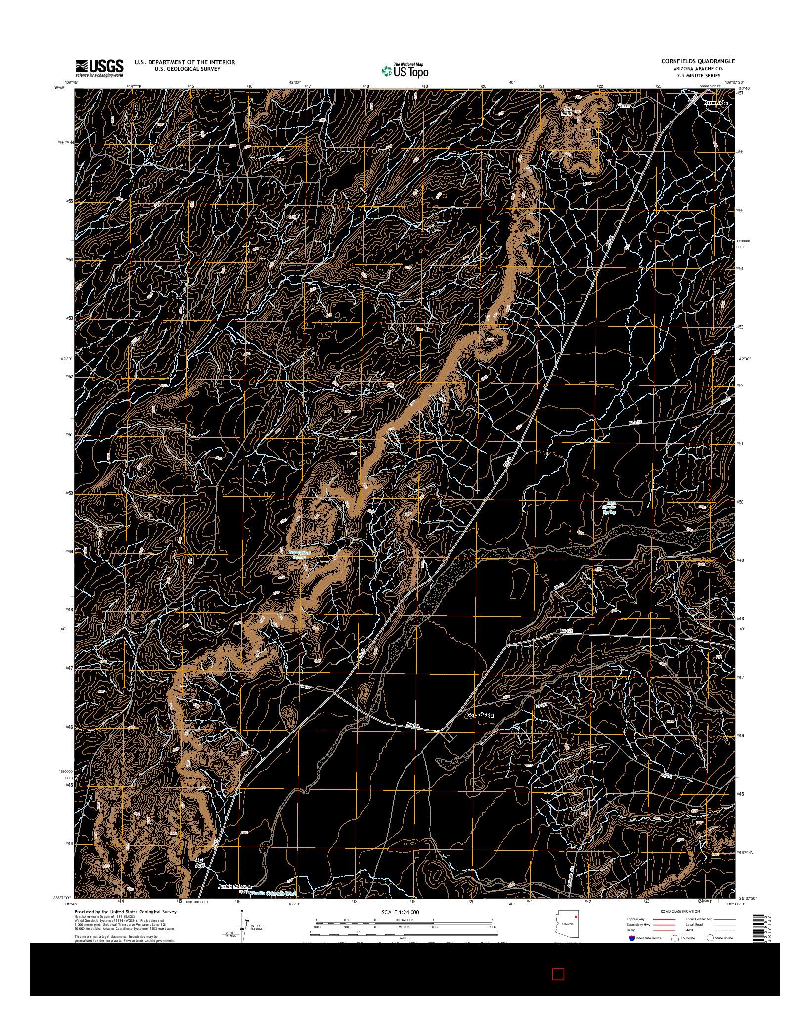 USGS US TOPO 7.5-MINUTE MAP FOR CORNFIELDS, AZ 2014