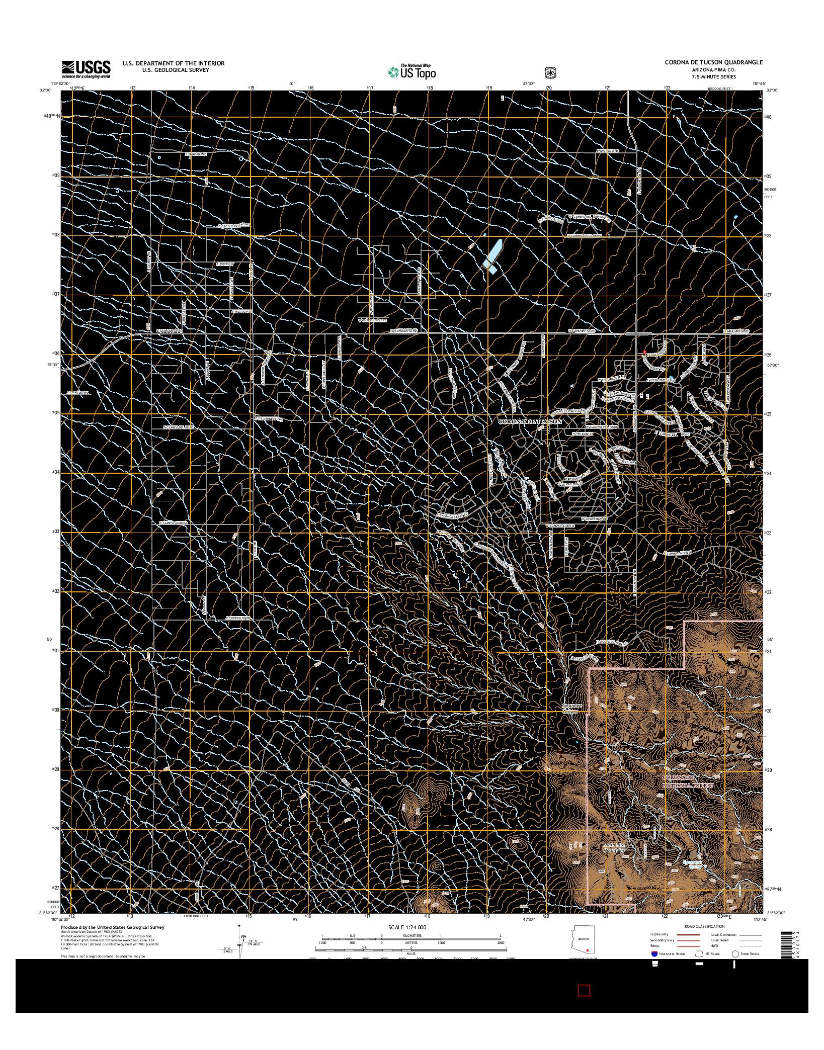 USGS US TOPO 7.5-MINUTE MAP FOR CORONA DE TUCSON, AZ 2014
