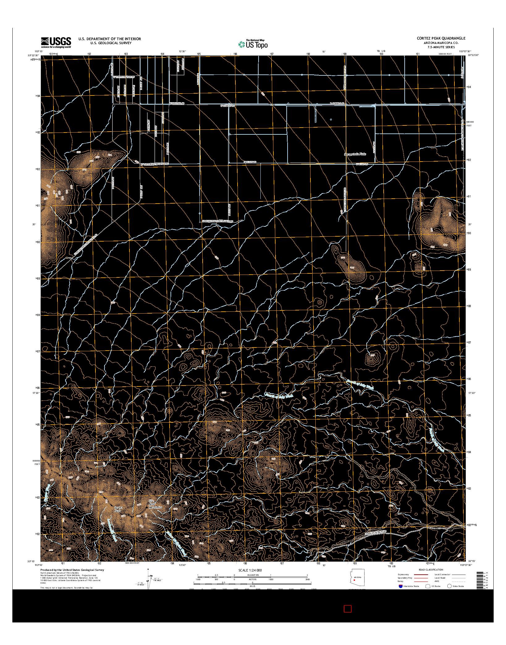 USGS US TOPO 7.5-MINUTE MAP FOR CORTEZ PEAK, AZ 2014