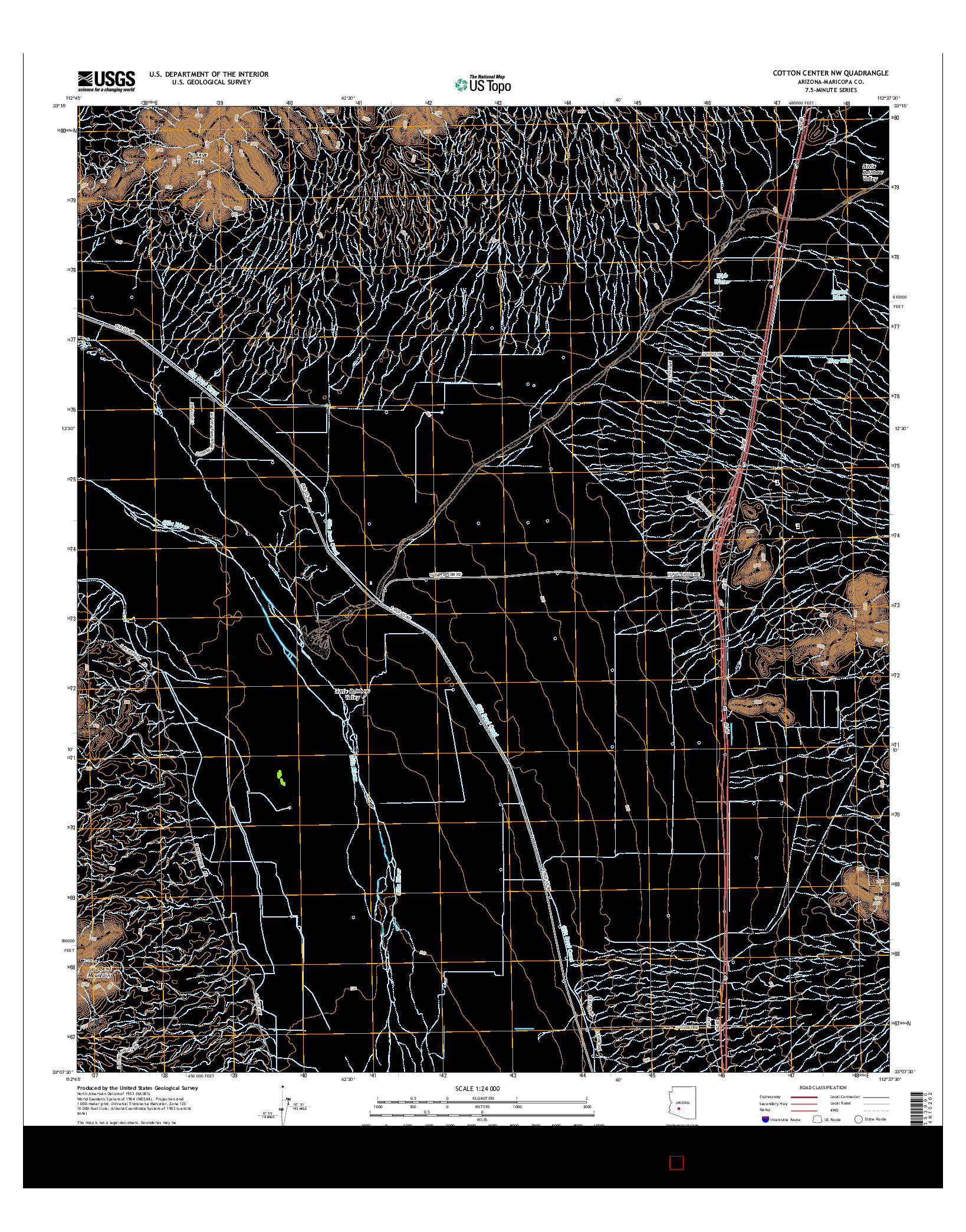 USGS US TOPO 7.5-MINUTE MAP FOR COTTON CENTER NW, AZ 2014