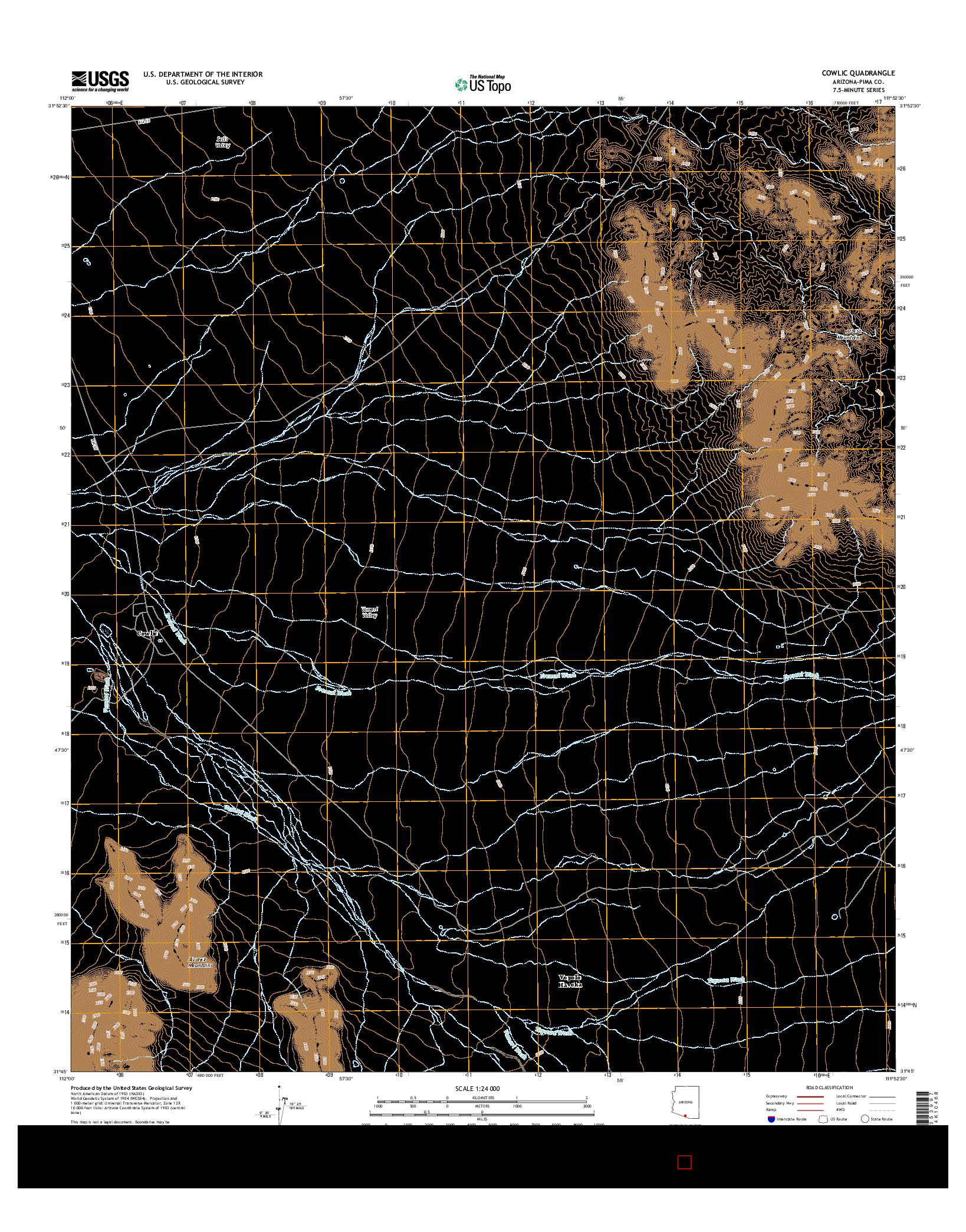 USGS US TOPO 7.5-MINUTE MAP FOR COWLIC, AZ 2014