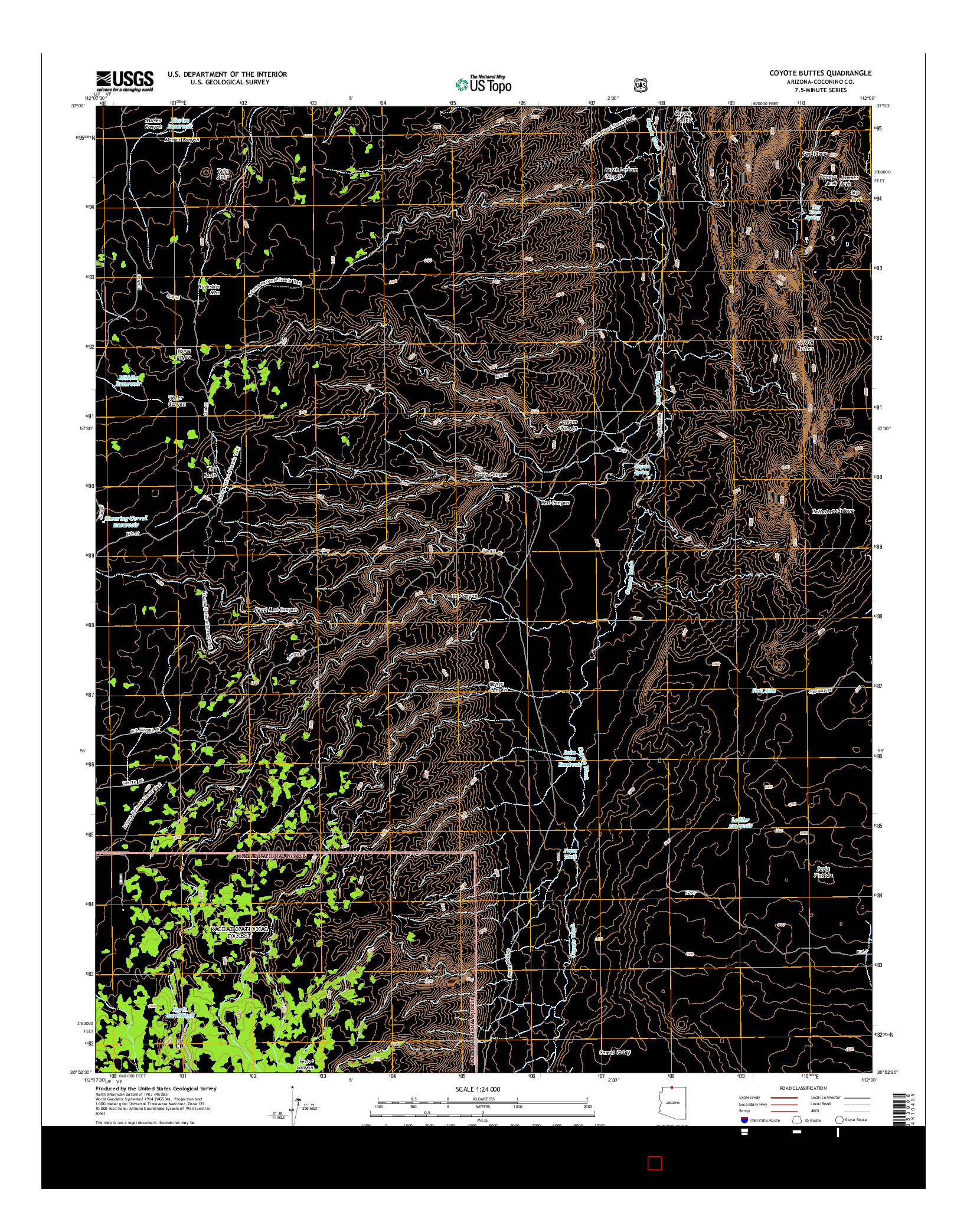 USGS US TOPO 7.5-MINUTE MAP FOR COYOTE BUTTES, AZ 2014
