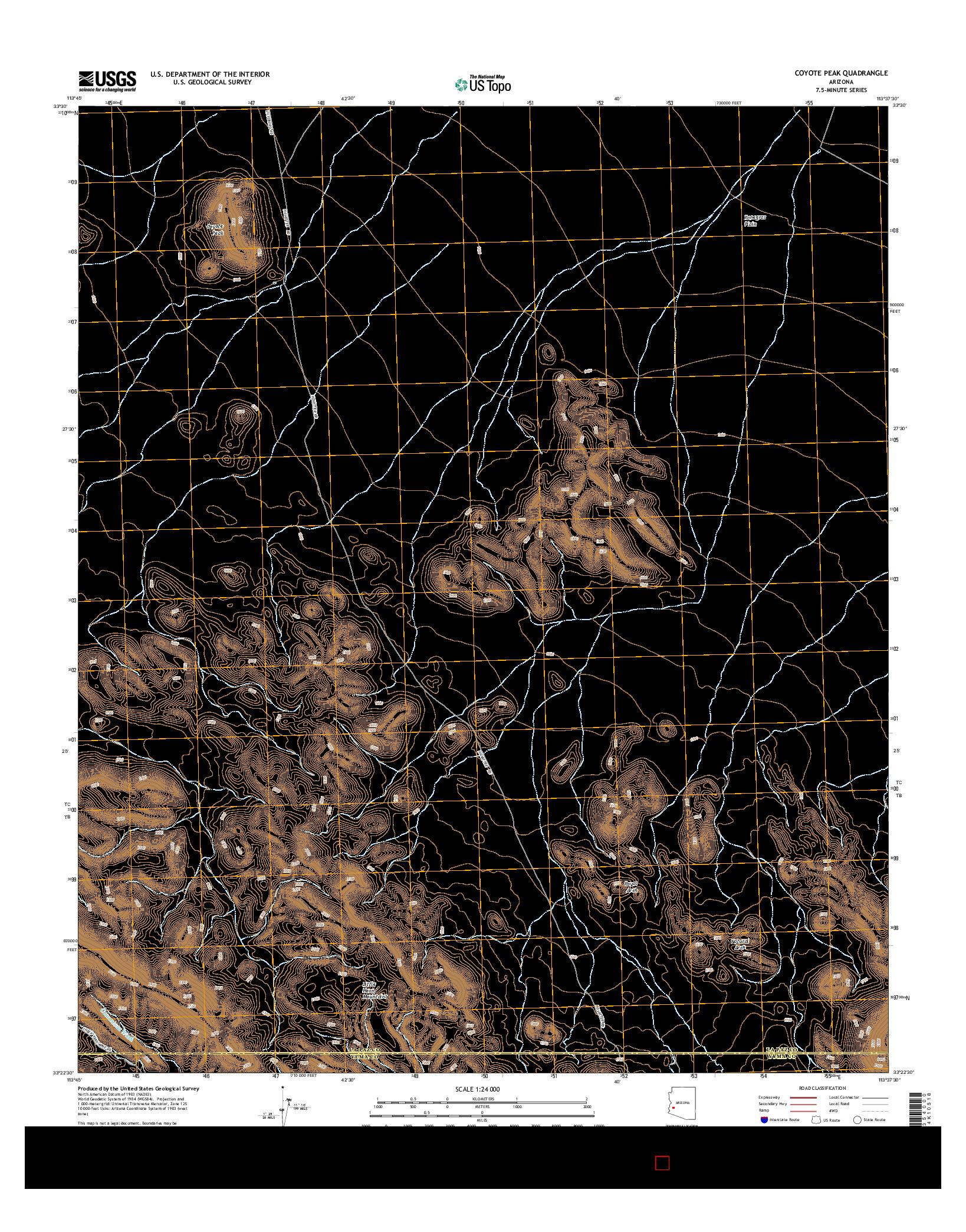 USGS US TOPO 7.5-MINUTE MAP FOR COYOTE PEAK, AZ 2014
