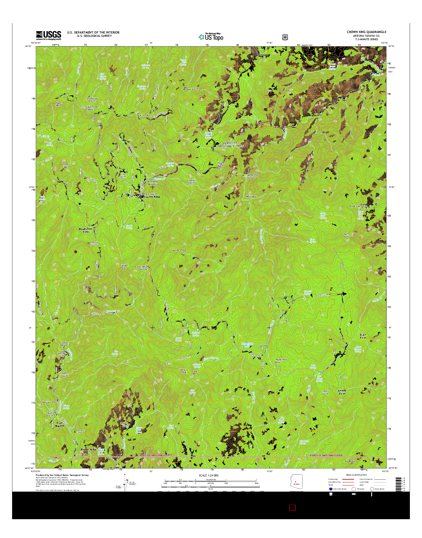 USGS US TOPO 7.5-MINUTE MAP FOR CROWN KING, AZ 2014