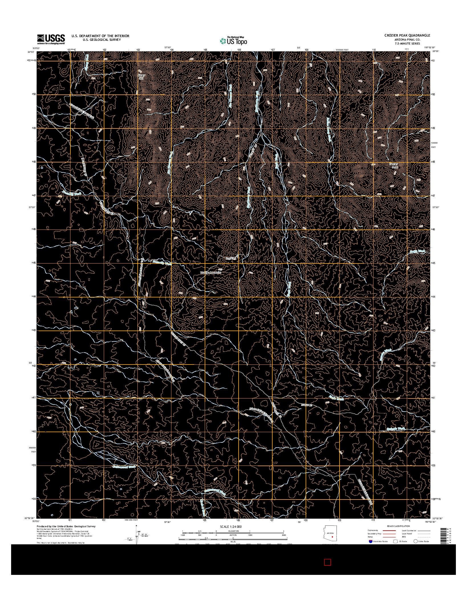 USGS US TOPO 7.5-MINUTE MAP FOR CROZIER PEAK, AZ 2014