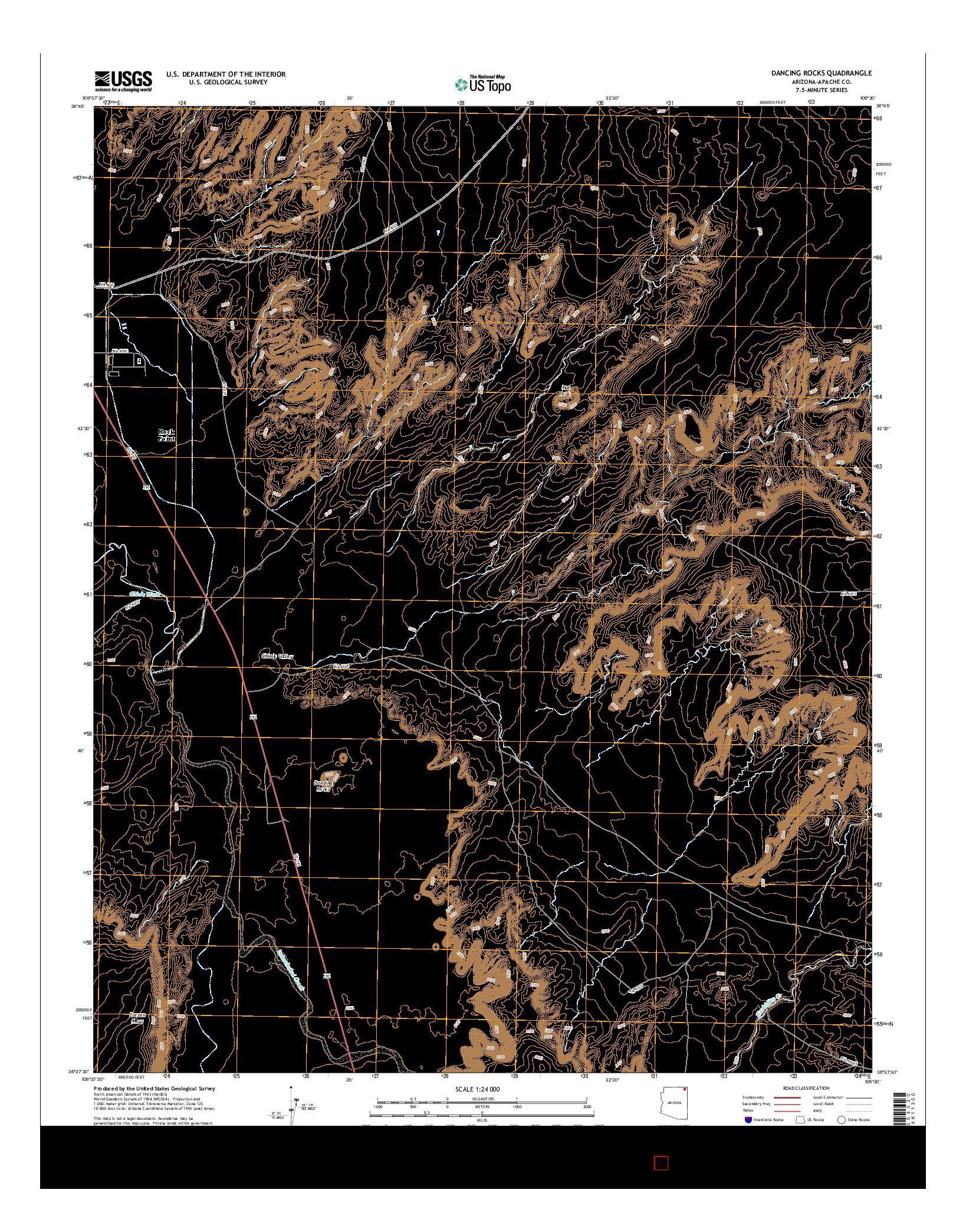 USGS US TOPO 7.5-MINUTE MAP FOR DANCING ROCKS, AZ 2014