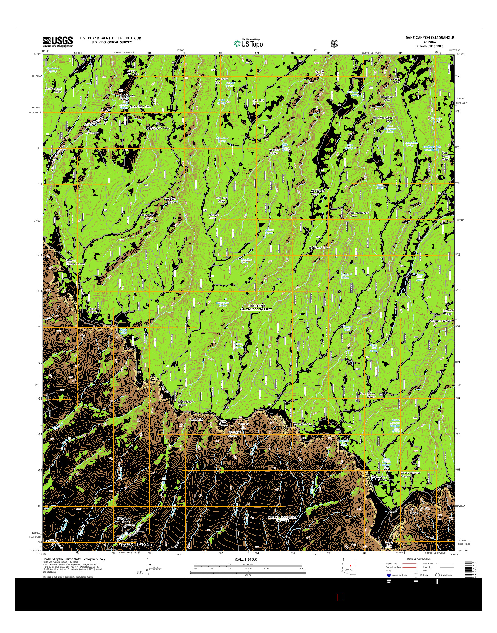 USGS US TOPO 7.5-MINUTE MAP FOR DANE CANYON, AZ 2014