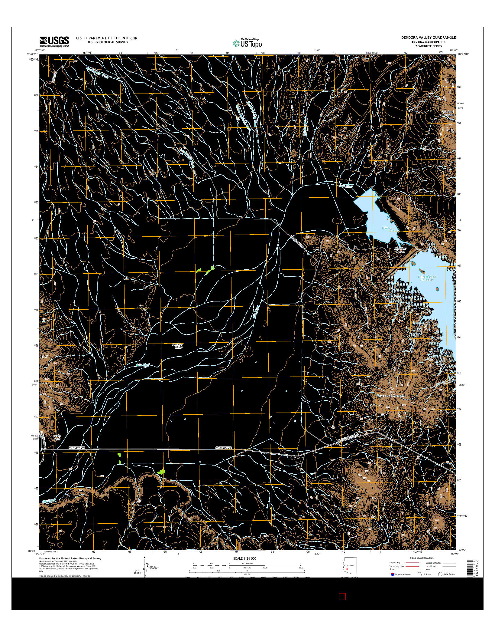 USGS US TOPO 7.5-MINUTE MAP FOR DENDORA VALLEY, AZ 2014