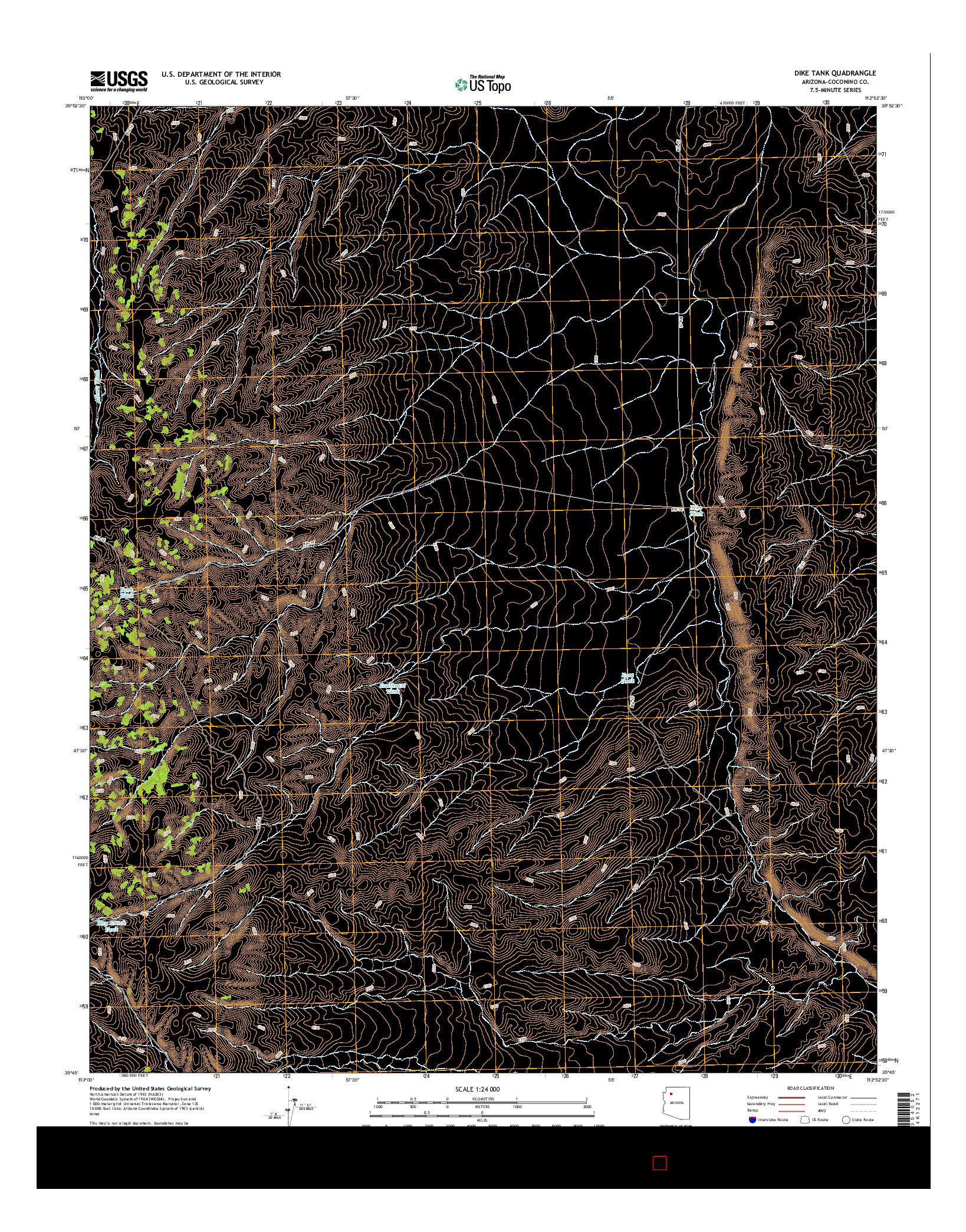USGS US TOPO 7.5-MINUTE MAP FOR DIKE TANK, AZ 2014