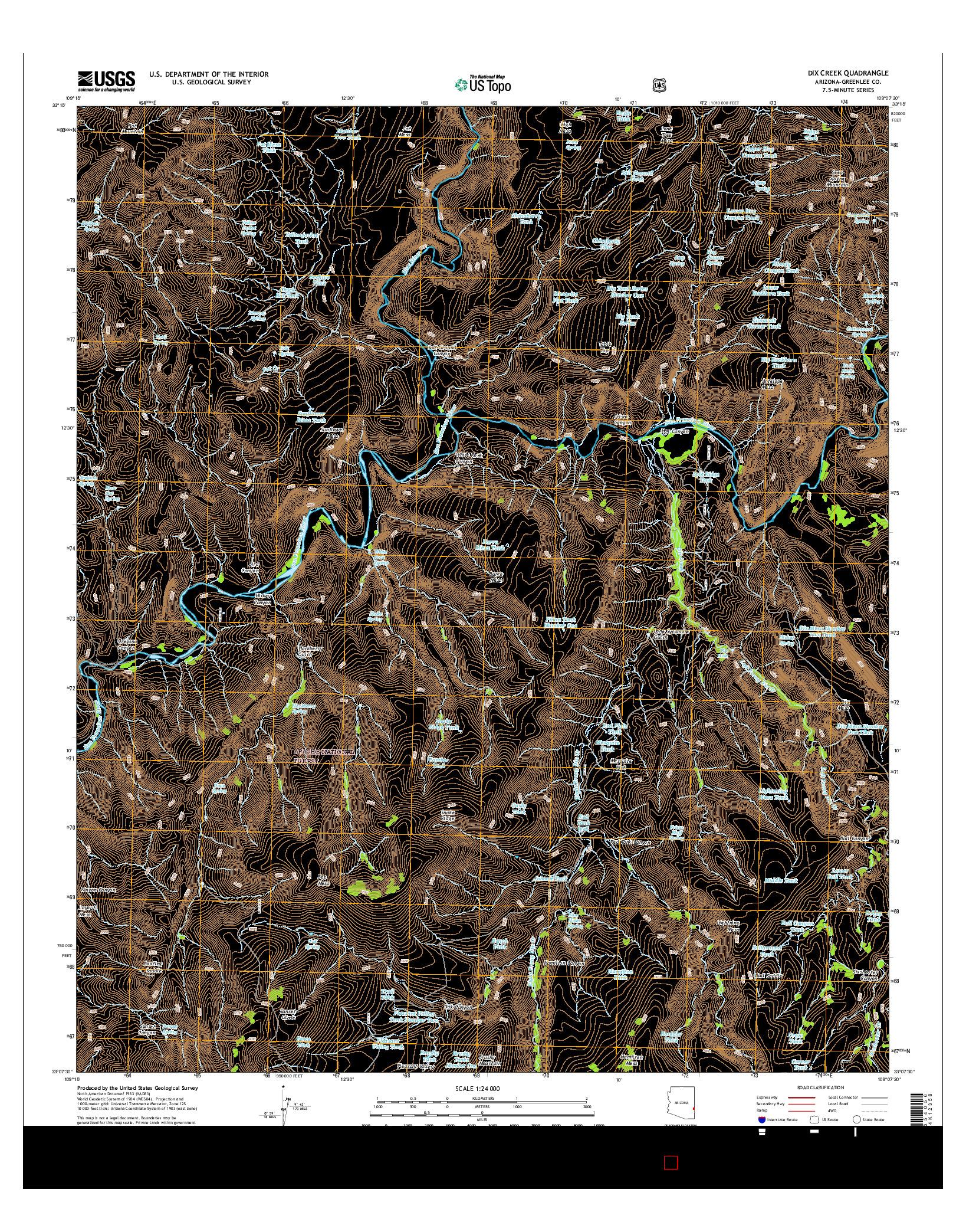 USGS US TOPO 7.5-MINUTE MAP FOR DIX CREEK, AZ 2014