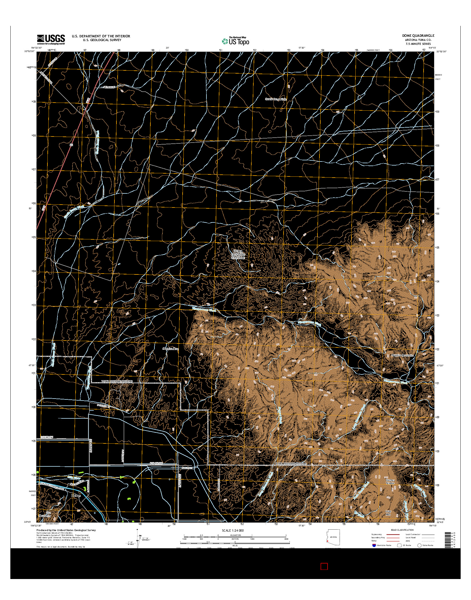 USGS US TOPO 7.5-MINUTE MAP FOR DOME, AZ 2014
