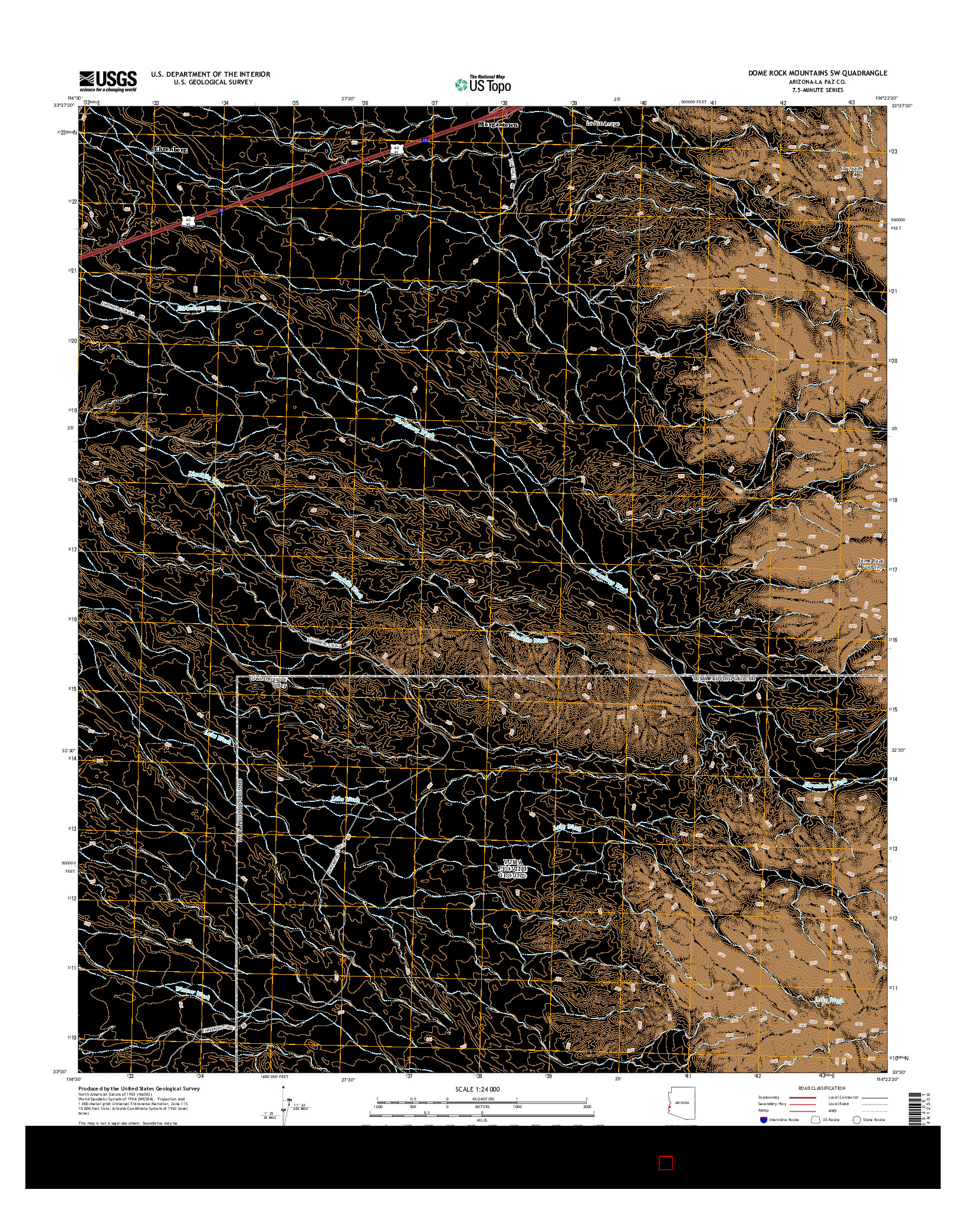 USGS US TOPO 7.5-MINUTE MAP FOR DOME ROCK MOUNTAINS SW, AZ 2014