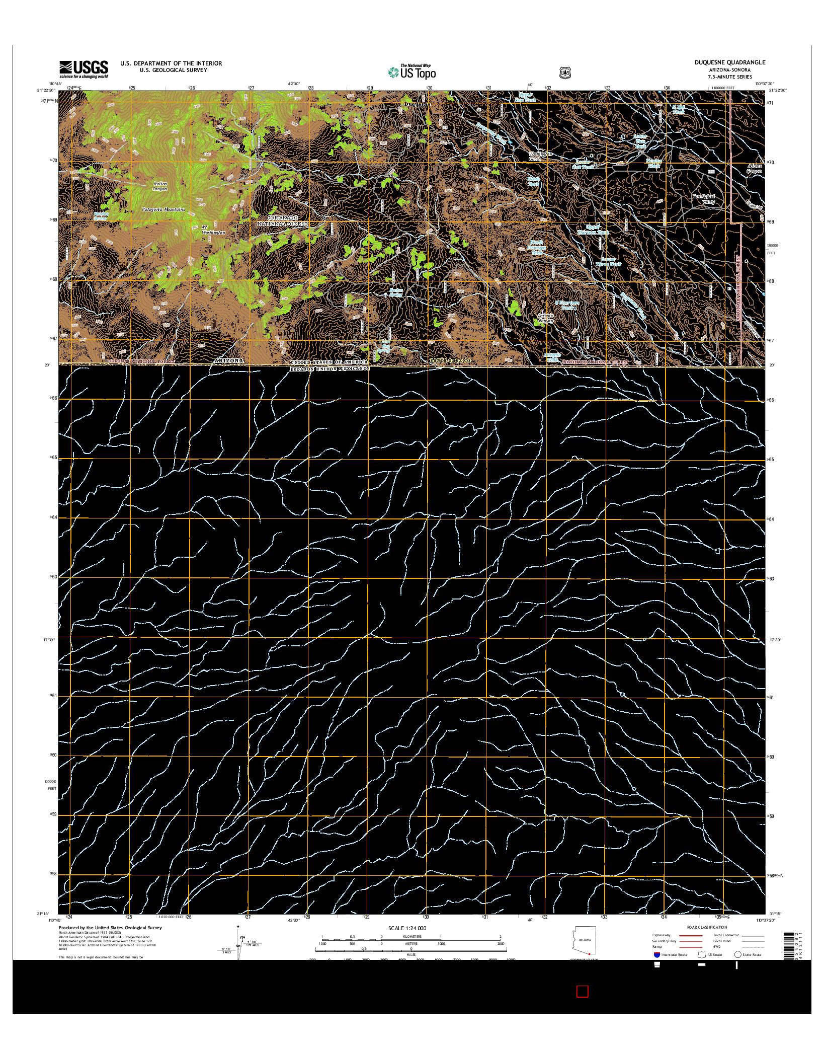 USGS US TOPO 7.5-MINUTE MAP FOR DUQUESNE, AZ-SON 2014
