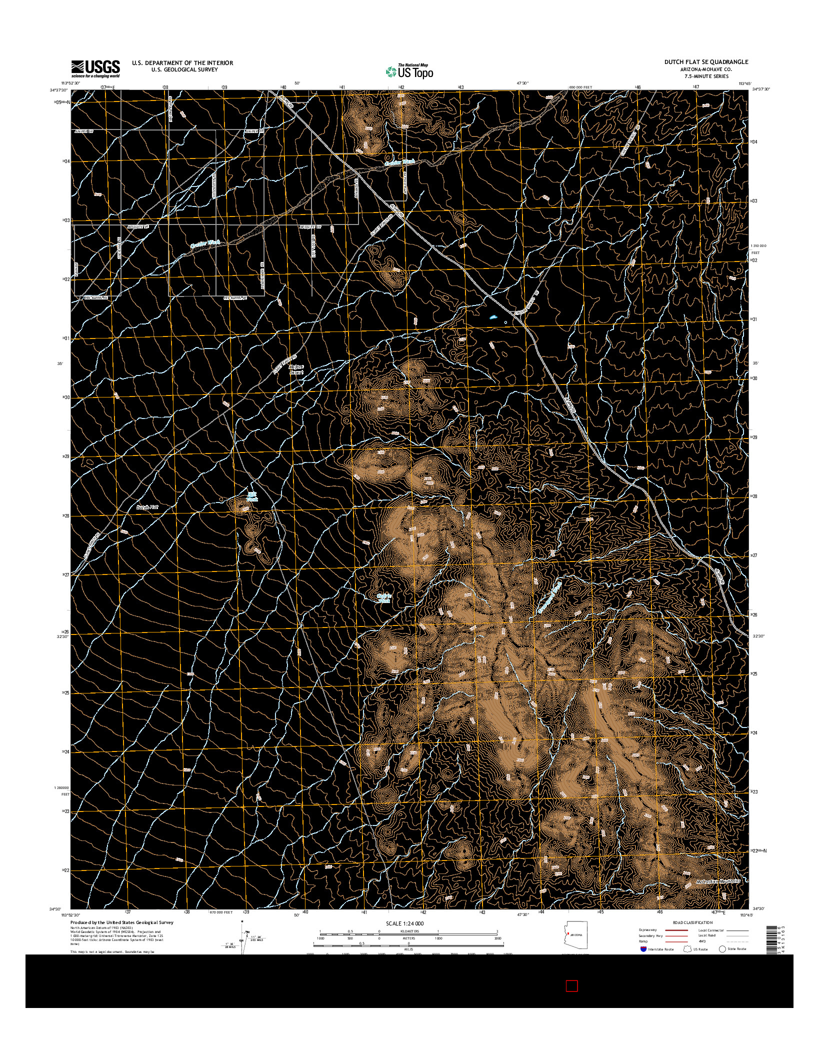 USGS US TOPO 7.5-MINUTE MAP FOR DUTCH FLAT SE, AZ 2014