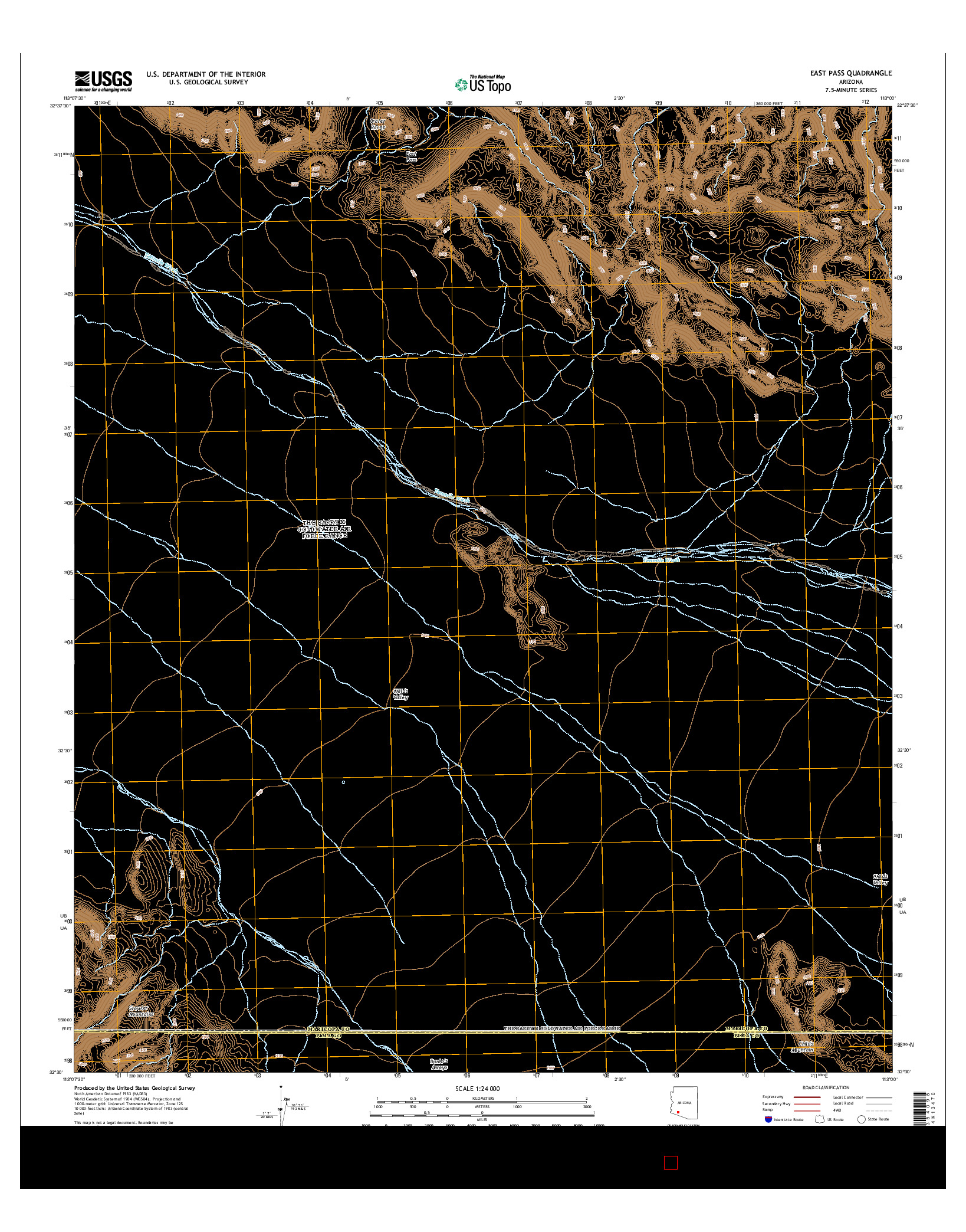 USGS US TOPO 7.5-MINUTE MAP FOR EAST PASS, AZ 2014