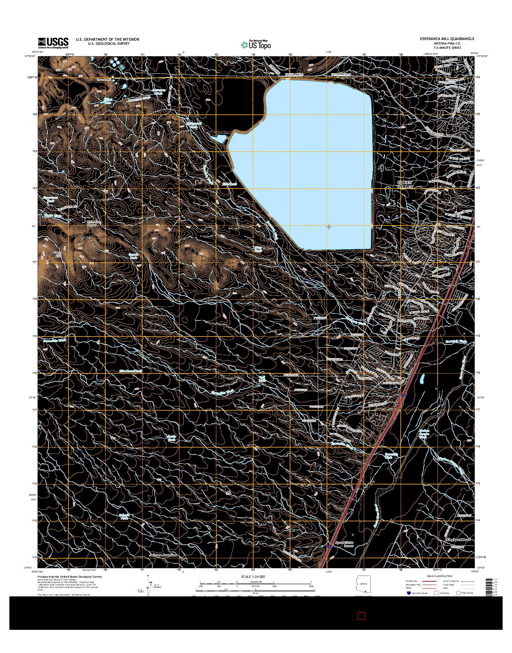 USGS US TOPO 7.5-MINUTE MAP FOR ESPERANZA MILL, AZ 2014