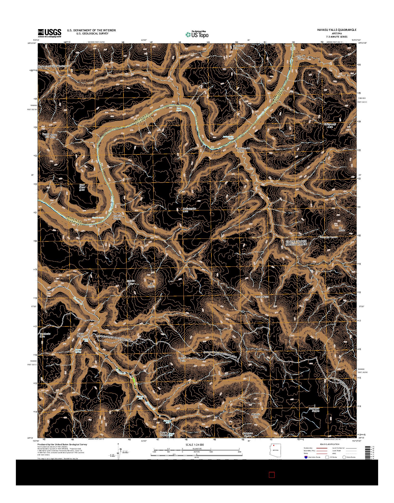 USGS US TOPO 7.5-MINUTE MAP FOR HAVASU FALLS, AZ 2014