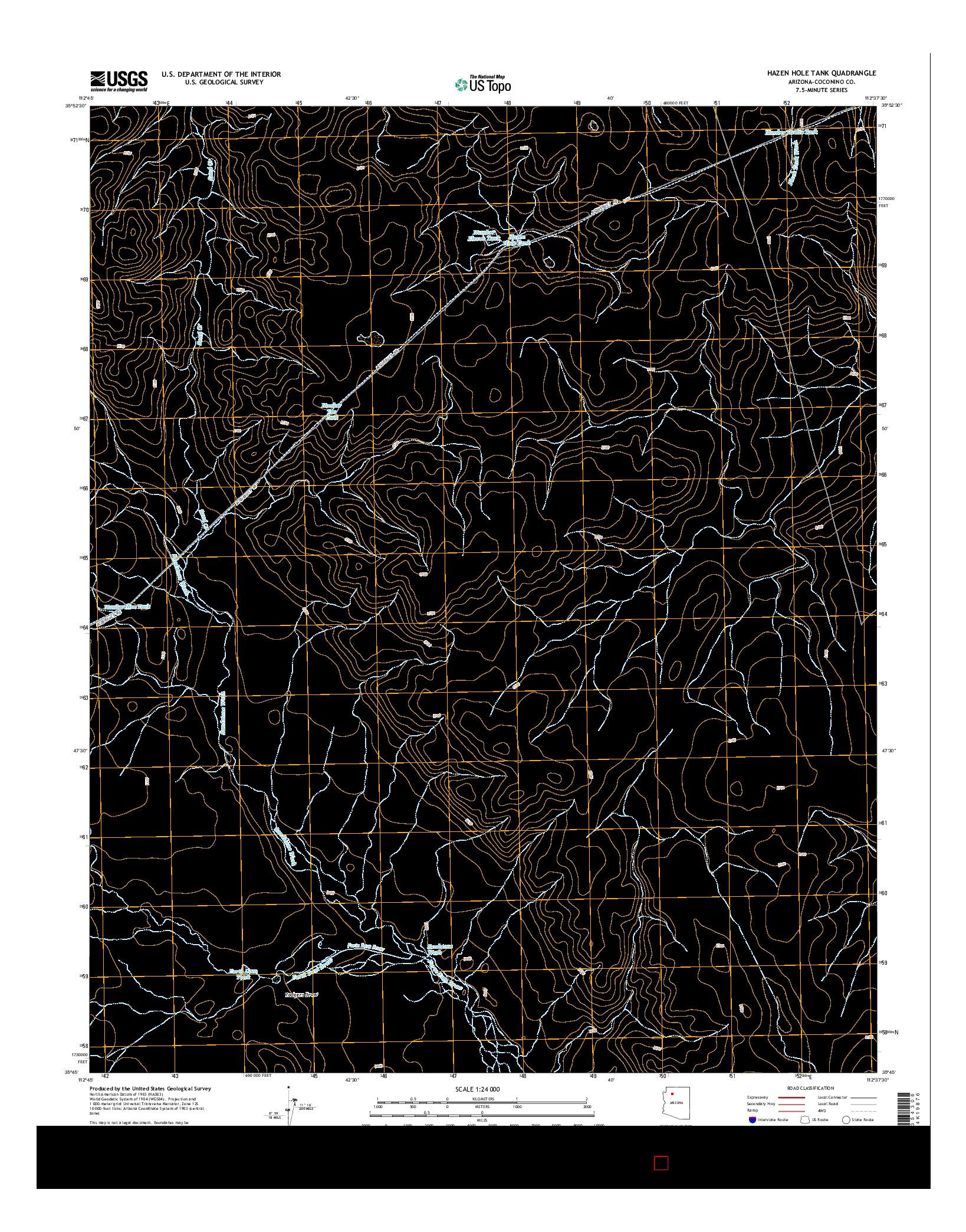 USGS US TOPO 7.5-MINUTE MAP FOR HAZEN HOLE TANK, AZ 2014