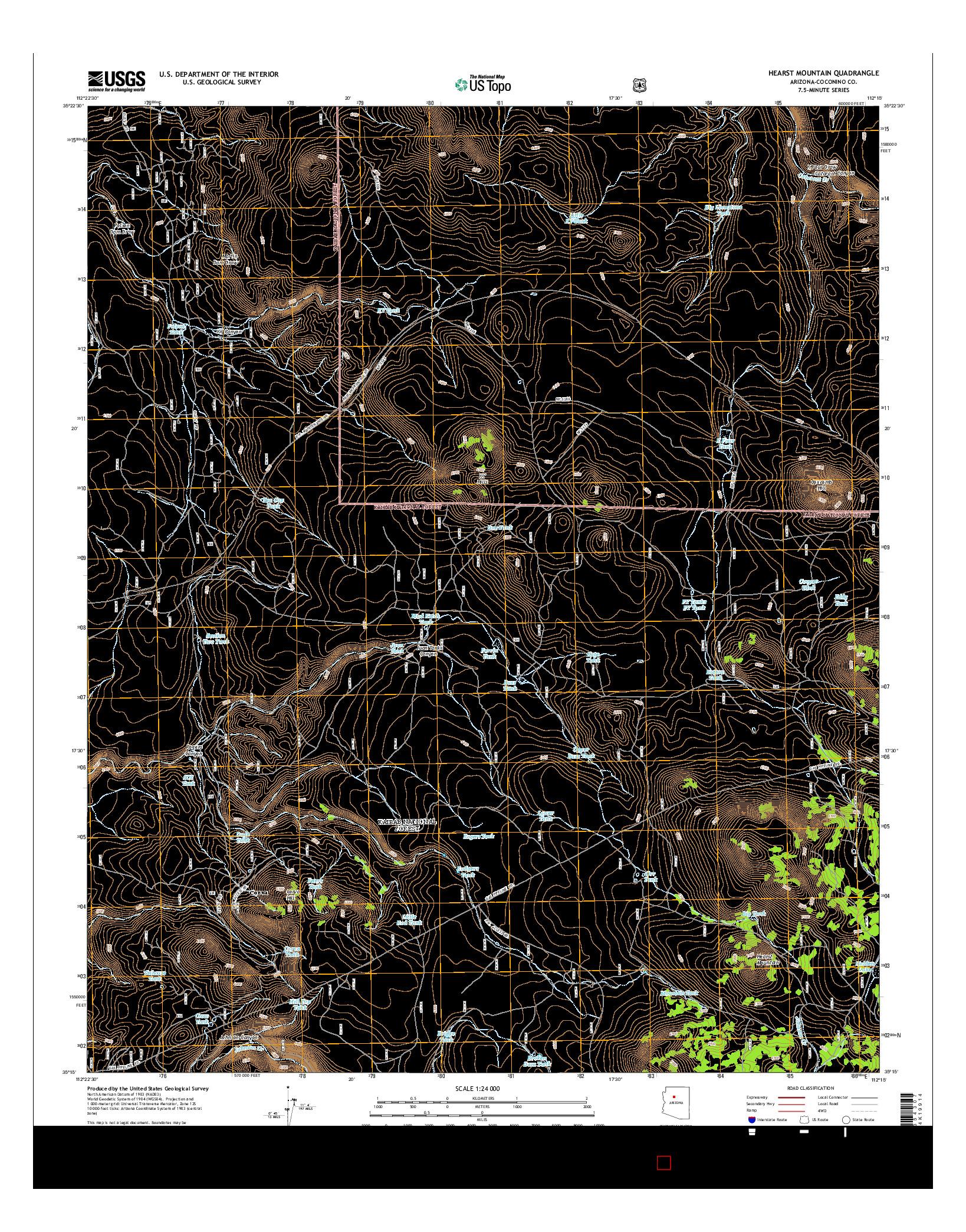 USGS US TOPO 7.5-MINUTE MAP FOR HEARST MOUNTAIN, AZ 2014