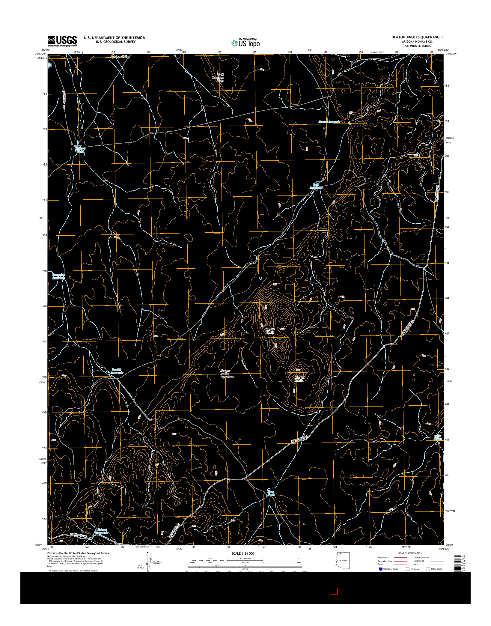 USGS US TOPO 7.5-MINUTE MAP FOR HEATON KNOLLS, AZ 2014