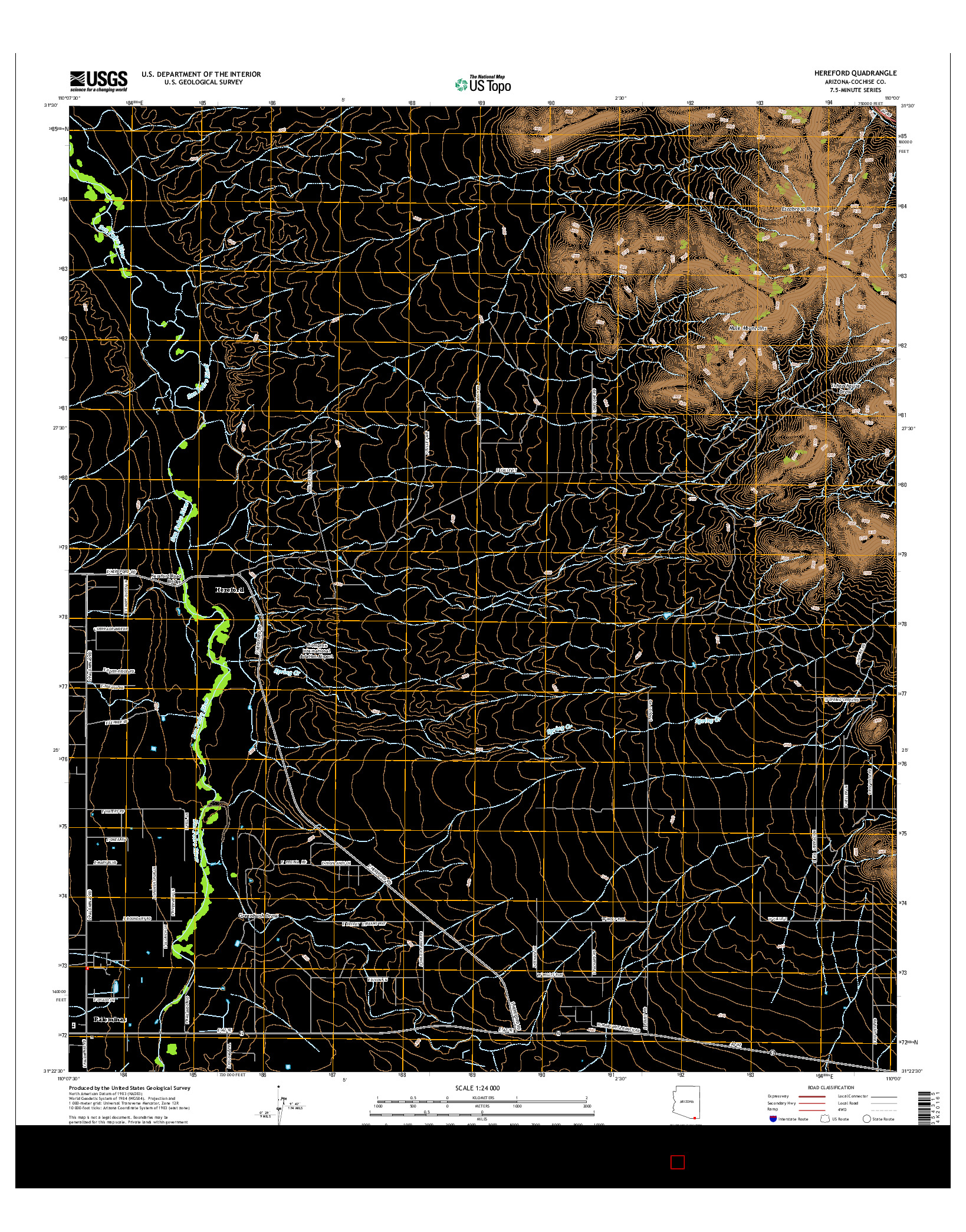 USGS US TOPO 7.5-MINUTE MAP FOR HEREFORD, AZ 2014