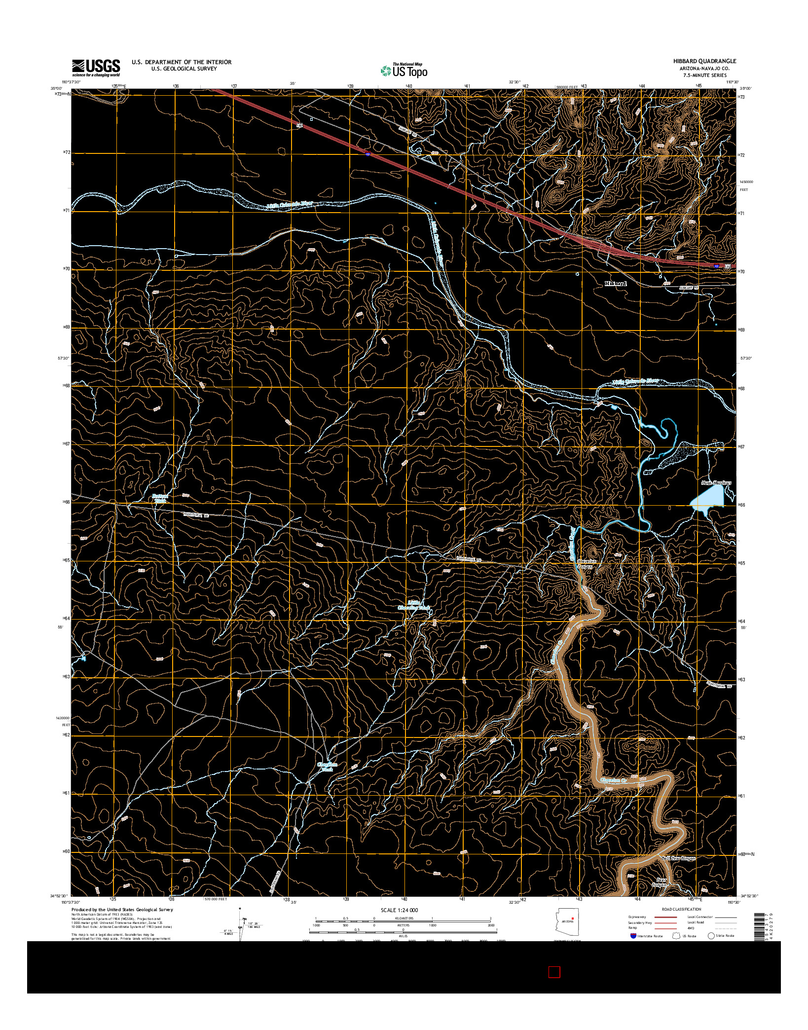 USGS US TOPO 7.5-MINUTE MAP FOR HIBBARD, AZ 2014