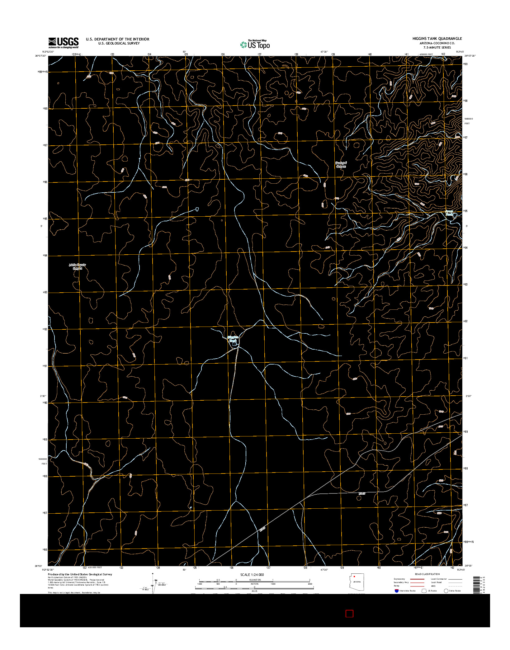 USGS US TOPO 7.5-MINUTE MAP FOR HIGGINS TANK, AZ 2014
