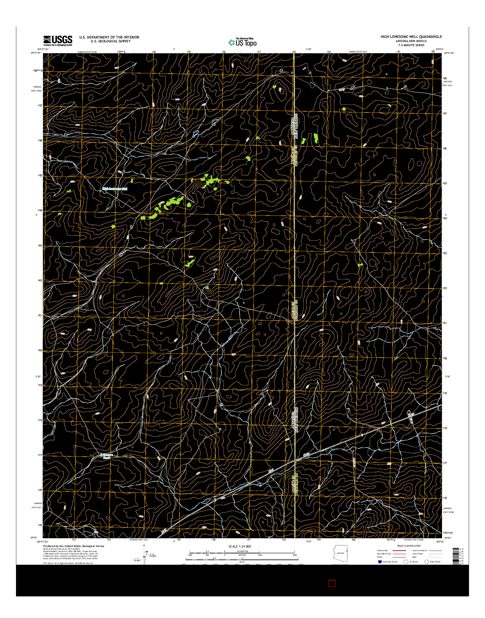 USGS US TOPO 7.5-MINUTE MAP FOR HIGH LONESOME WELL, AZ-NM 2014