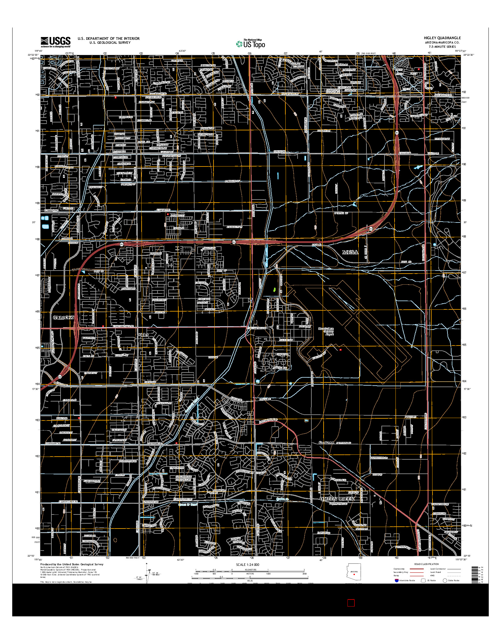 USGS US TOPO 7.5-MINUTE MAP FOR HIGLEY, AZ 2014
