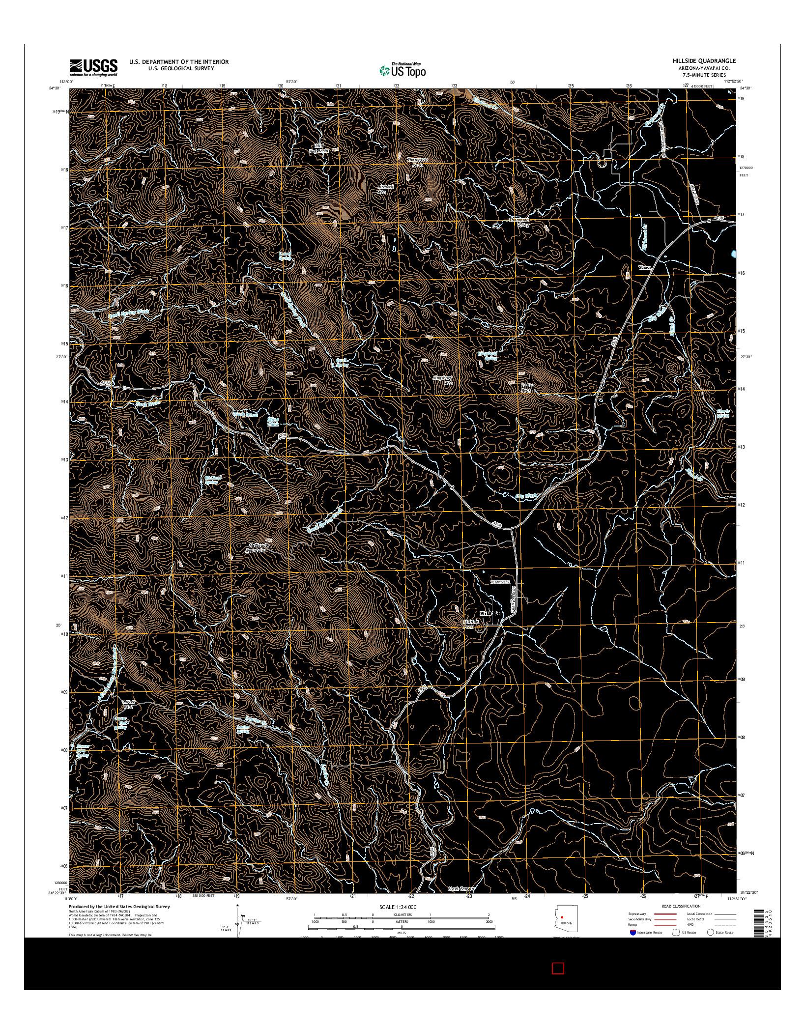 USGS US TOPO 7.5-MINUTE MAP FOR HILLSIDE, AZ 2014
