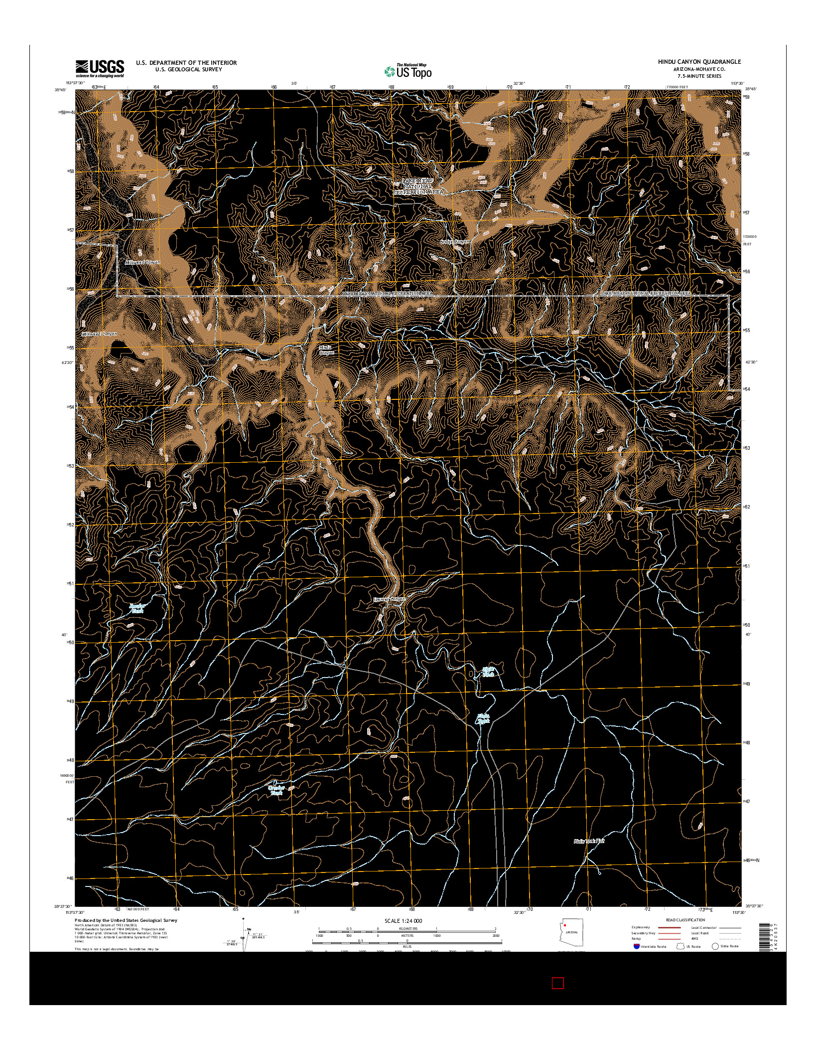 USGS US TOPO 7.5-MINUTE MAP FOR HINDU CANYON, AZ 2014