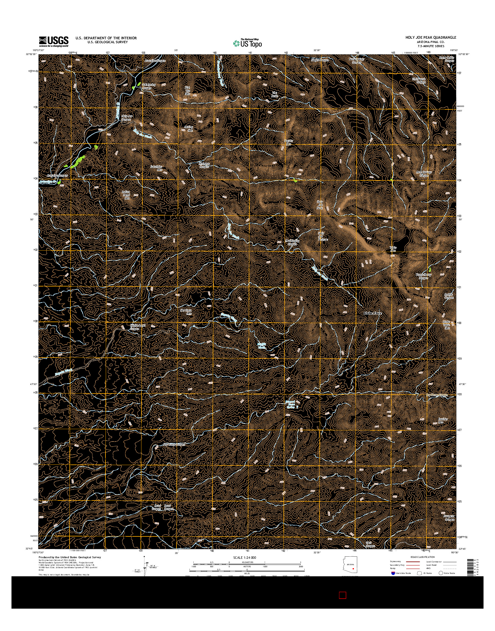 USGS US TOPO 7.5-MINUTE MAP FOR HOLY JOE PEAK, AZ 2014
