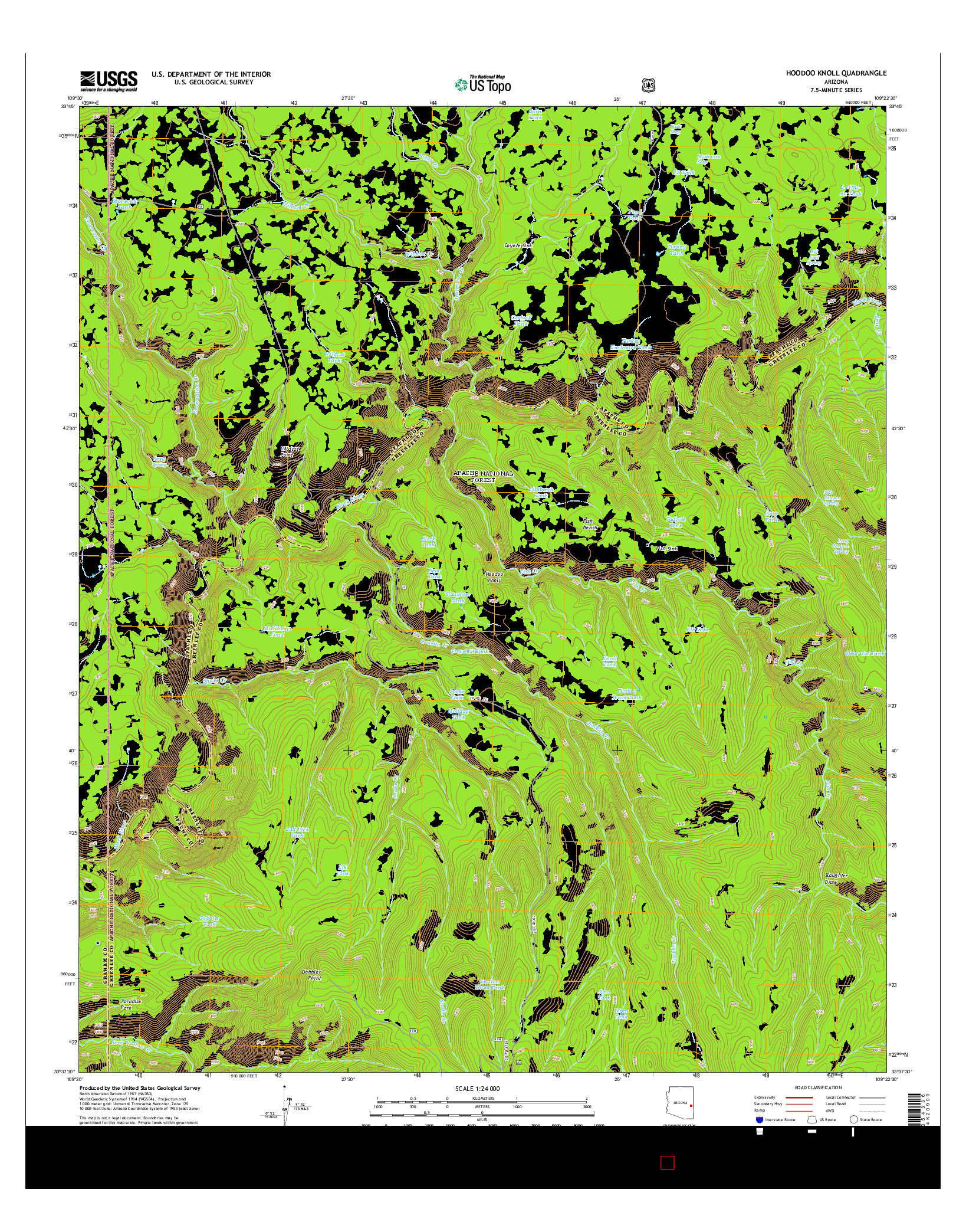 USGS US TOPO 7.5-MINUTE MAP FOR HOODOO KNOLL, AZ 2014