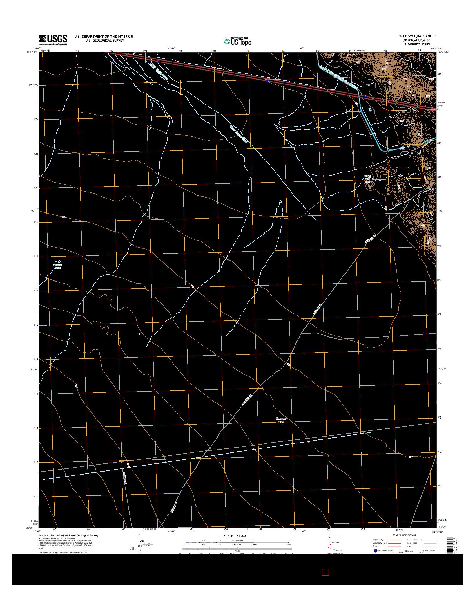 USGS US TOPO 7.5-MINUTE MAP FOR HOPE SW, AZ 2014