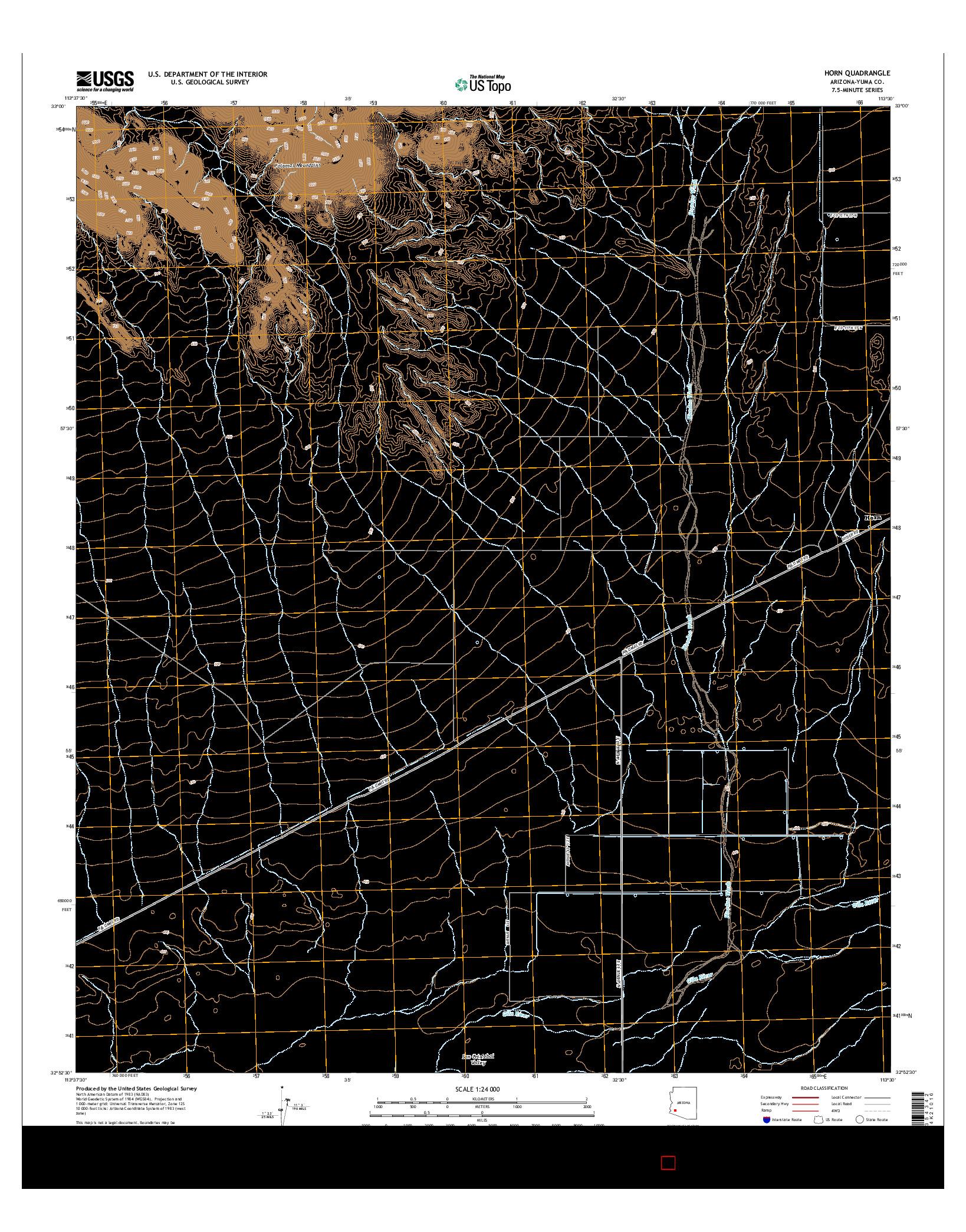 USGS US TOPO 7.5-MINUTE MAP FOR HORN, AZ 2014