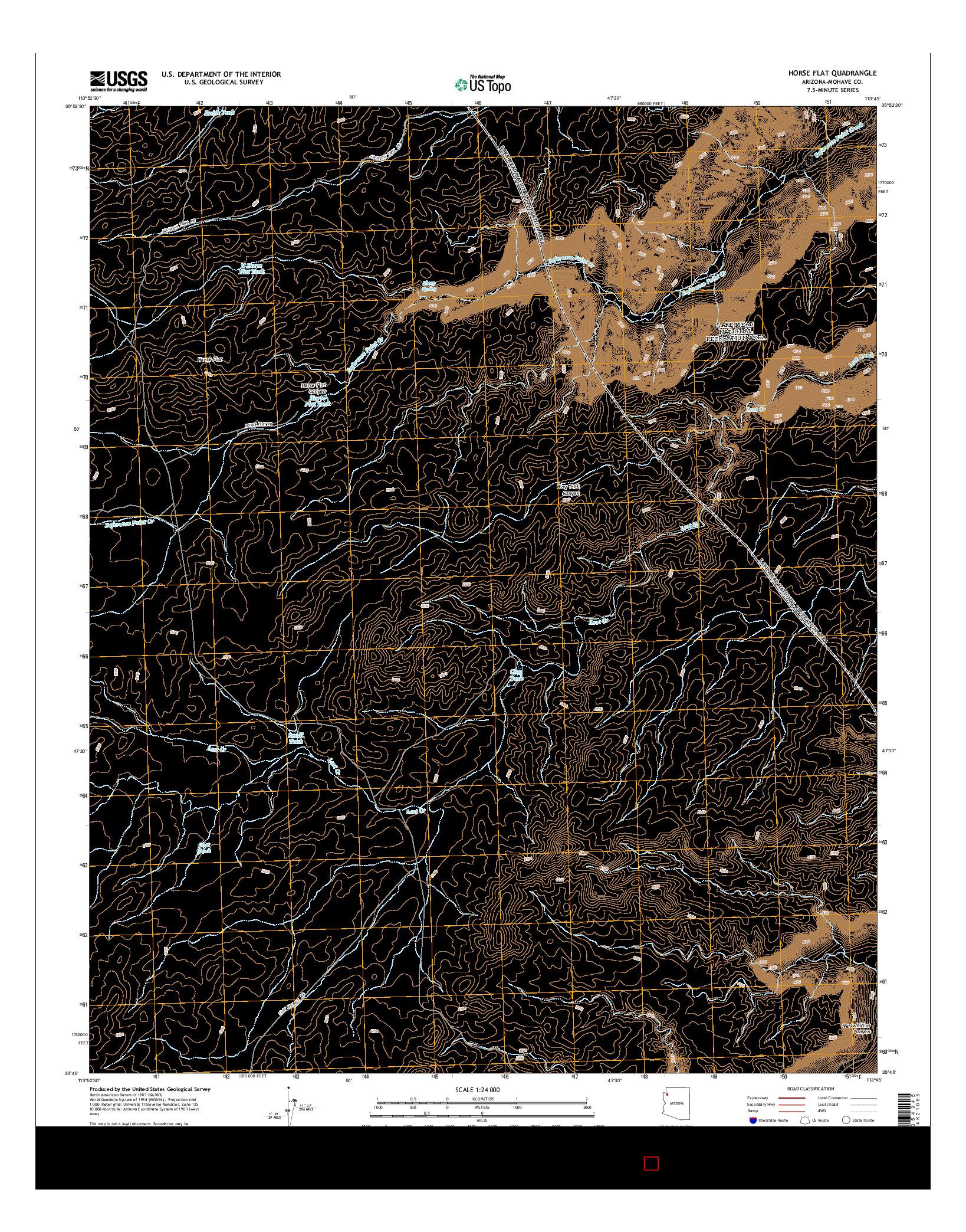 USGS US TOPO 7.5-MINUTE MAP FOR HORSE FLAT, AZ 2014
