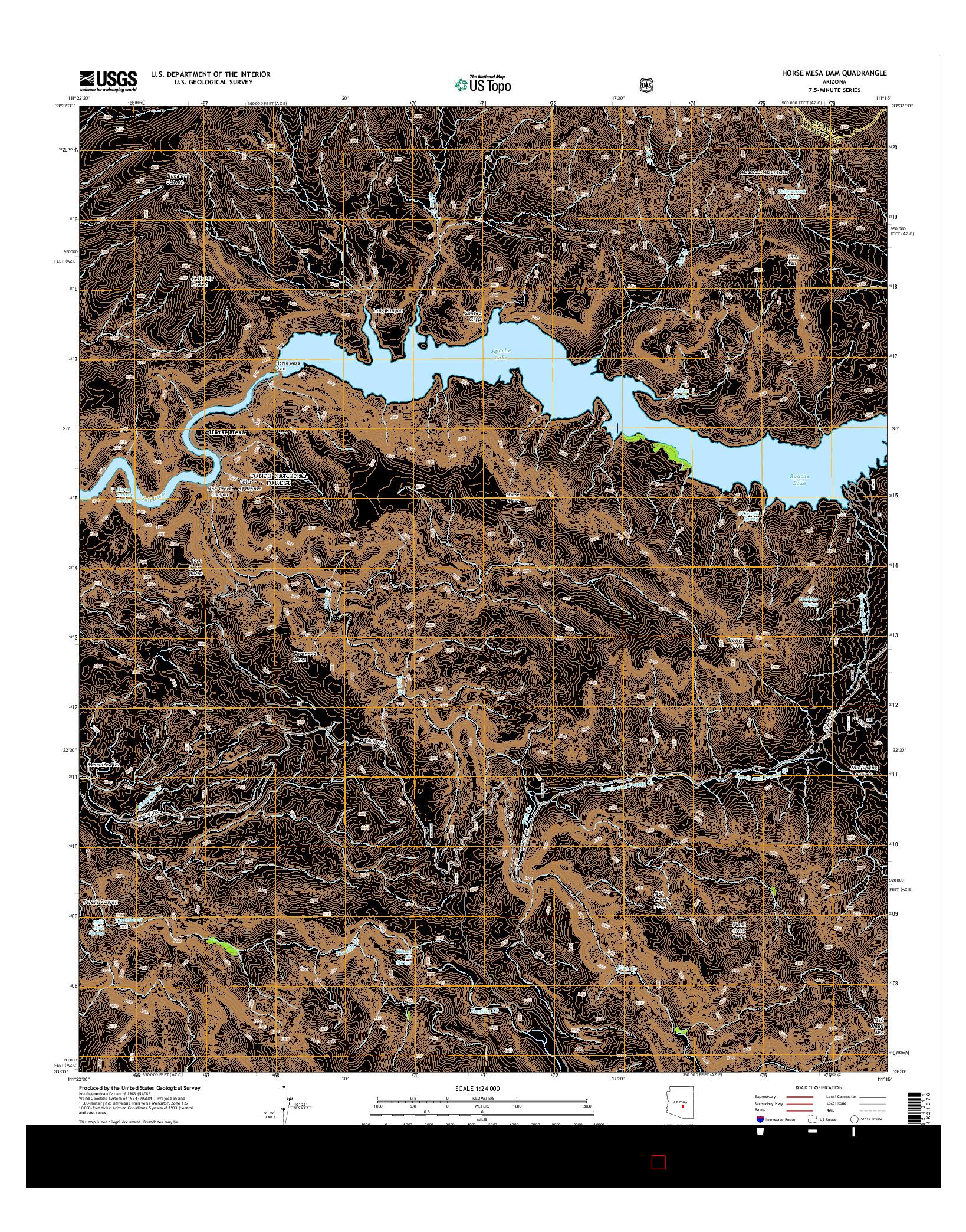 USGS US TOPO 7.5-MINUTE MAP FOR HORSE MESA DAM, AZ 2014