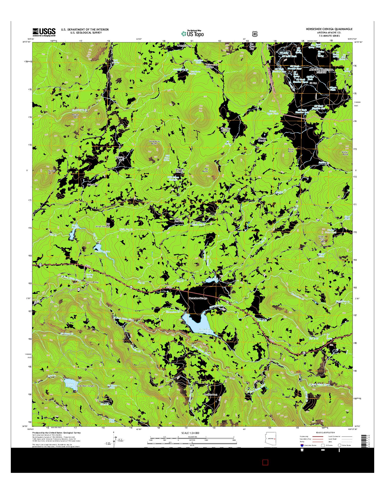 USGS US TOPO 7.5-MINUTE MAP FOR HORSESHOE CIENEGA, AZ 2014