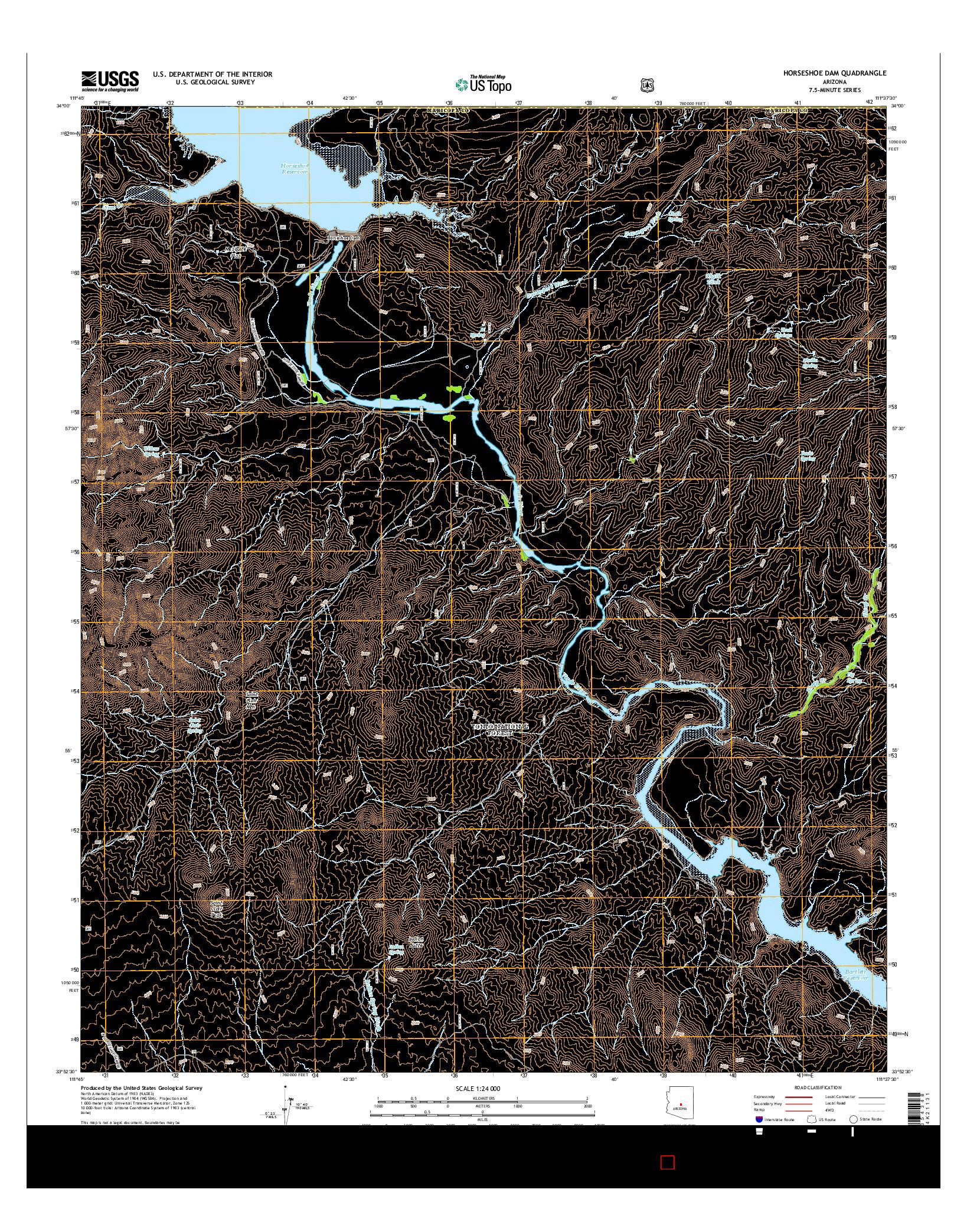 USGS US TOPO 7.5-MINUTE MAP FOR HORSESHOE DAM, AZ 2014