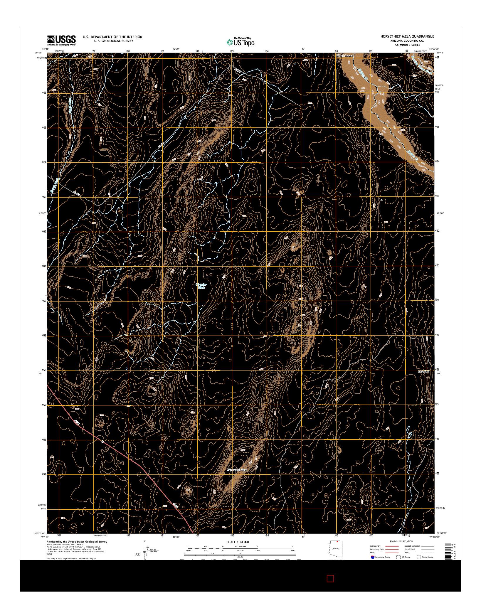 USGS US TOPO 7.5-MINUTE MAP FOR HORSETHIEF MESA, AZ 2014