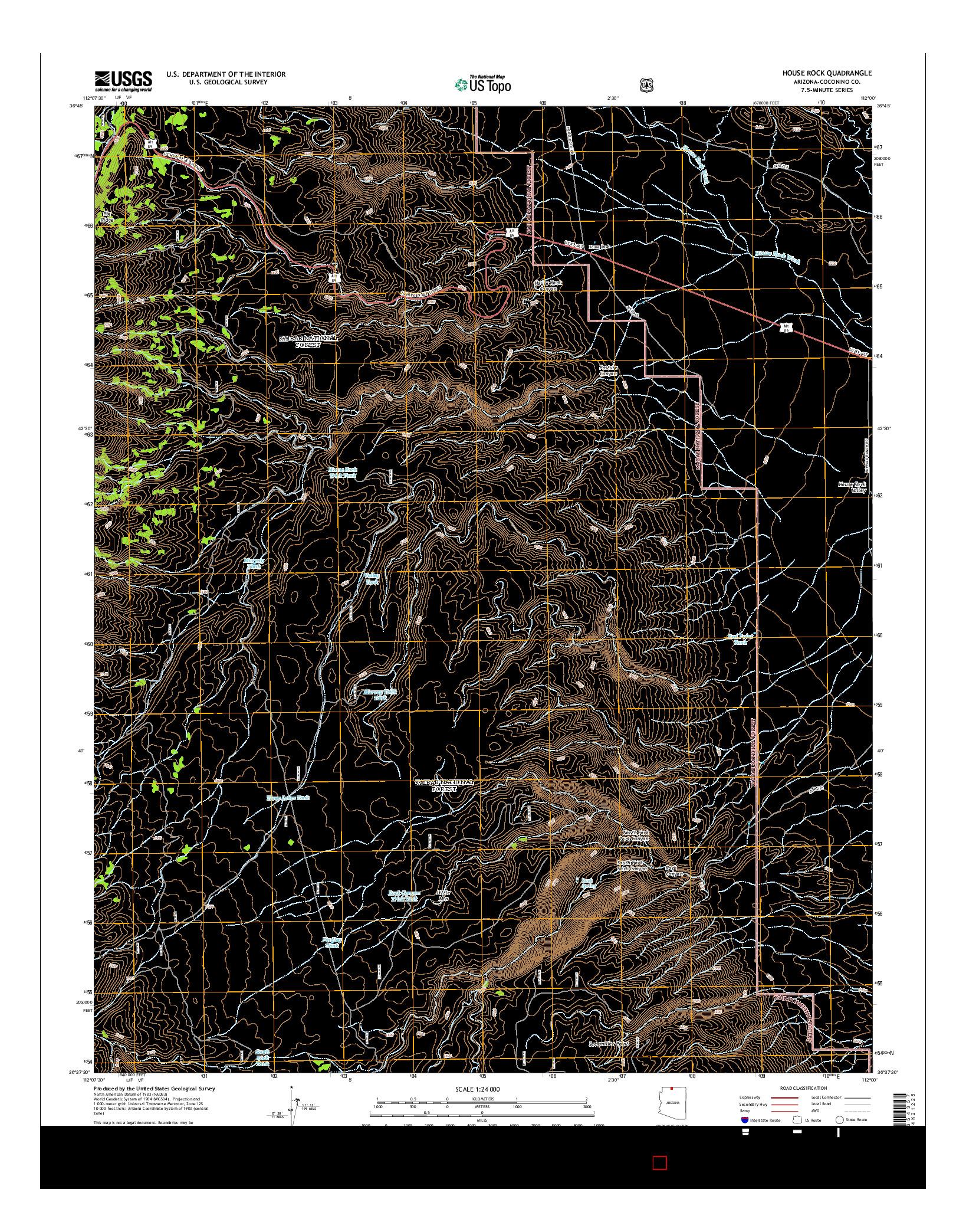 USGS US TOPO 7.5-MINUTE MAP FOR HOUSE ROCK, AZ 2014