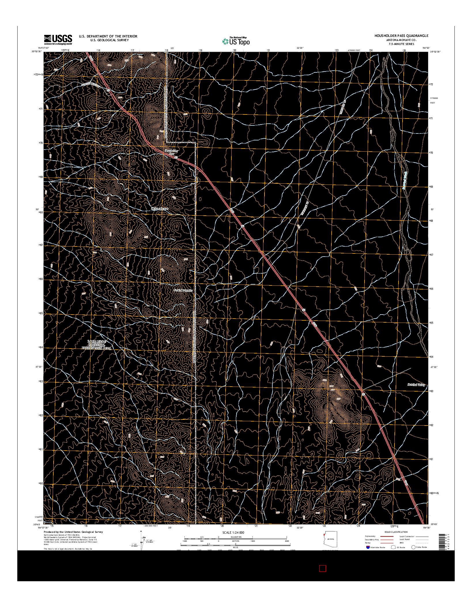 USGS US TOPO 7.5-MINUTE MAP FOR HOUSHOLDER PASS, AZ 2014