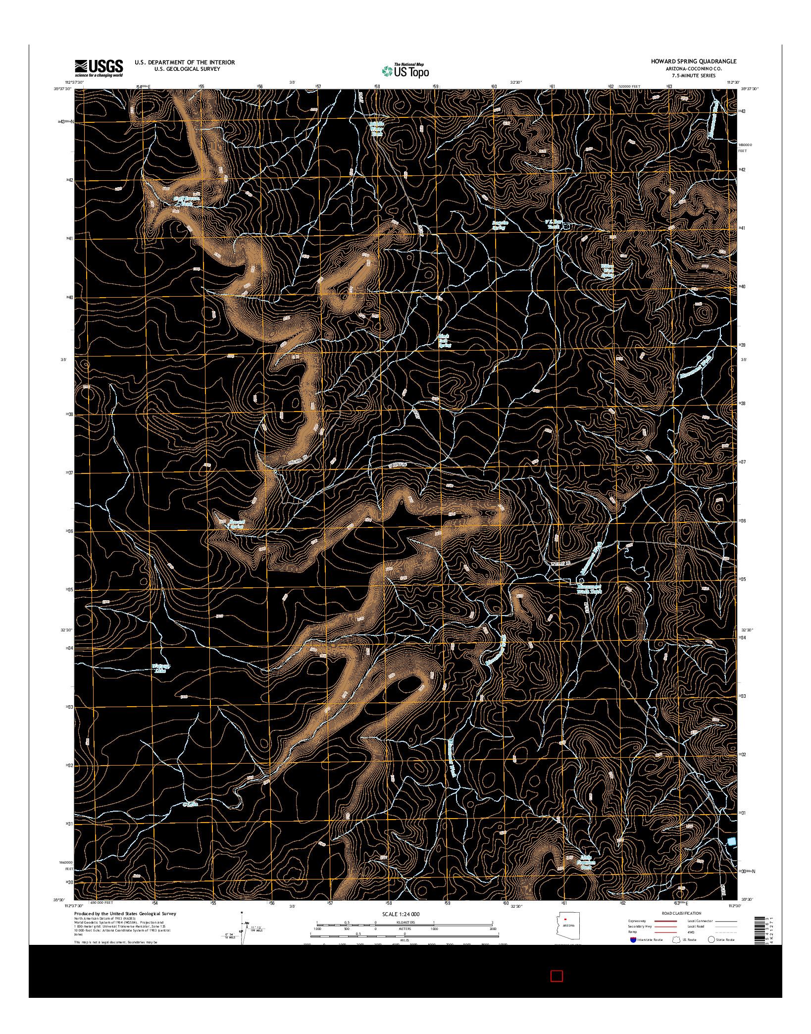 USGS US TOPO 7.5-MINUTE MAP FOR HOWARD SPRING, AZ 2014