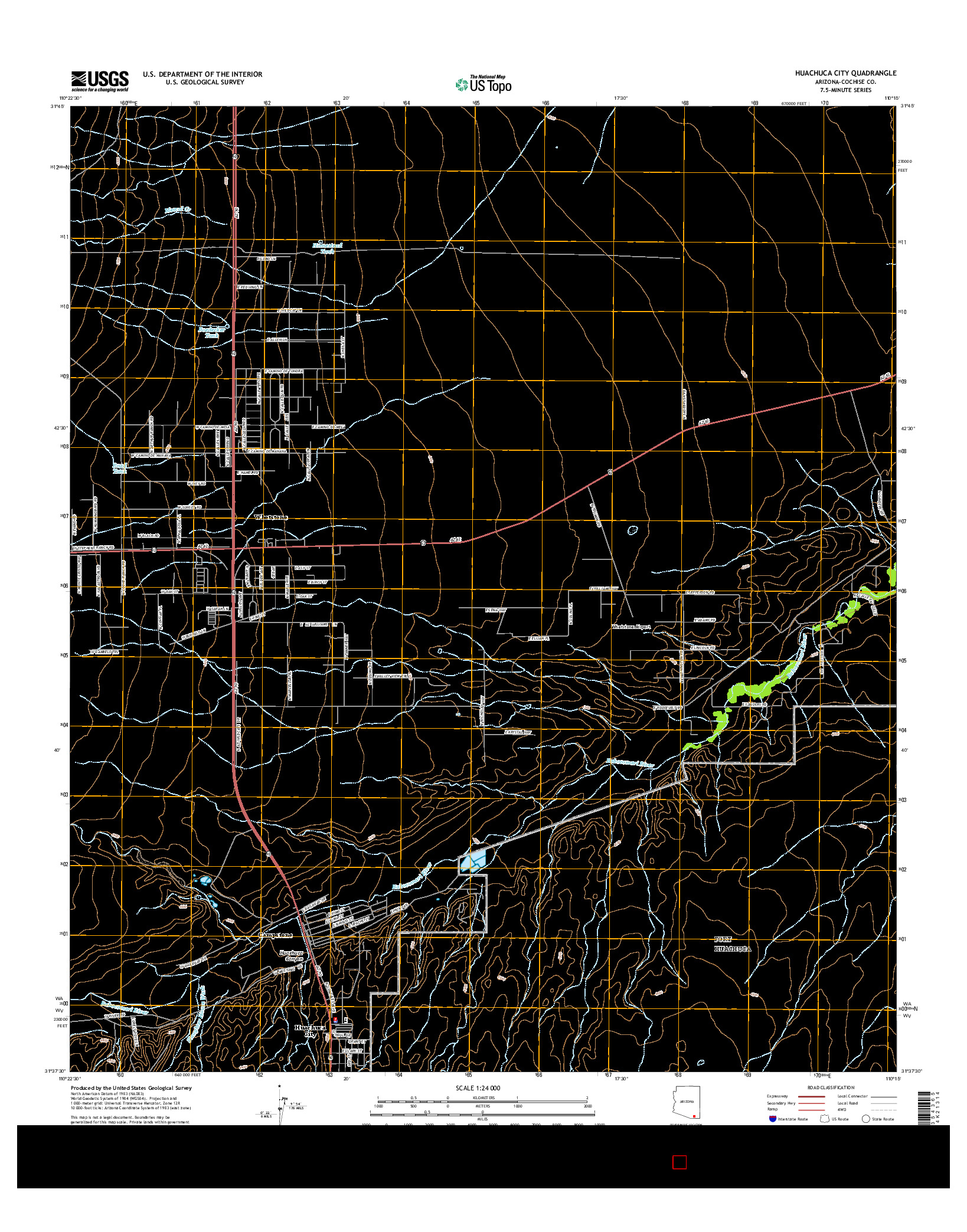USGS US TOPO 7.5-MINUTE MAP FOR HUACHUCA CITY, AZ 2014