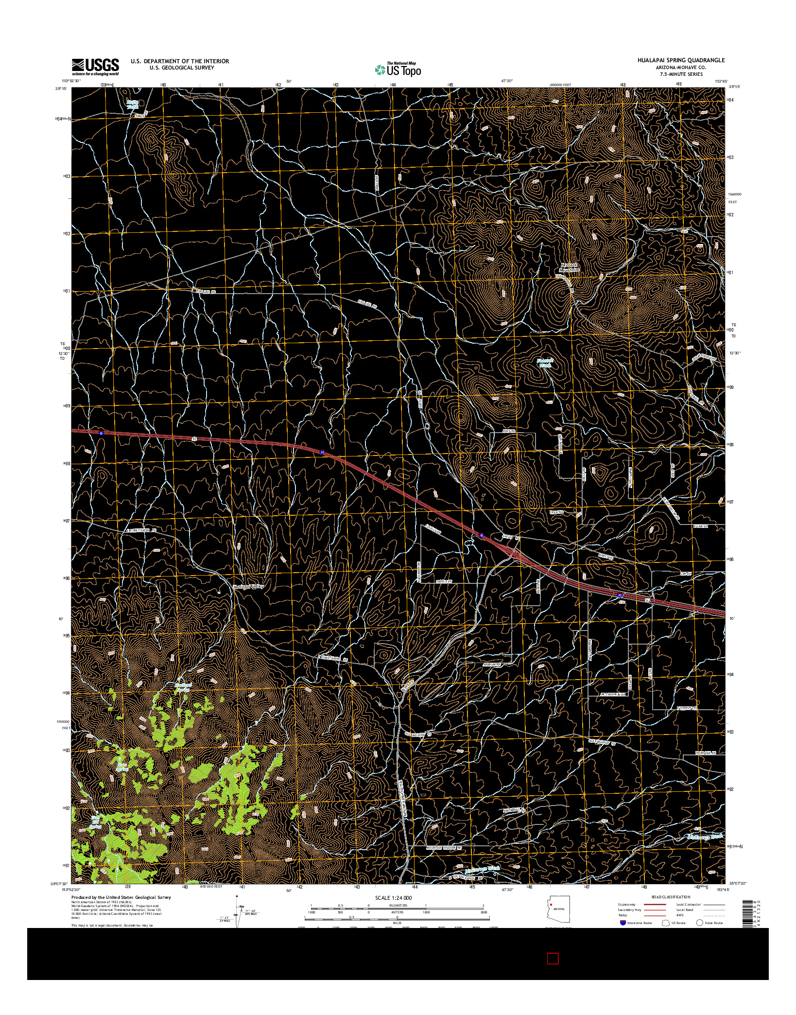 USGS US TOPO 7.5-MINUTE MAP FOR HUALAPAI SPRING, AZ 2014