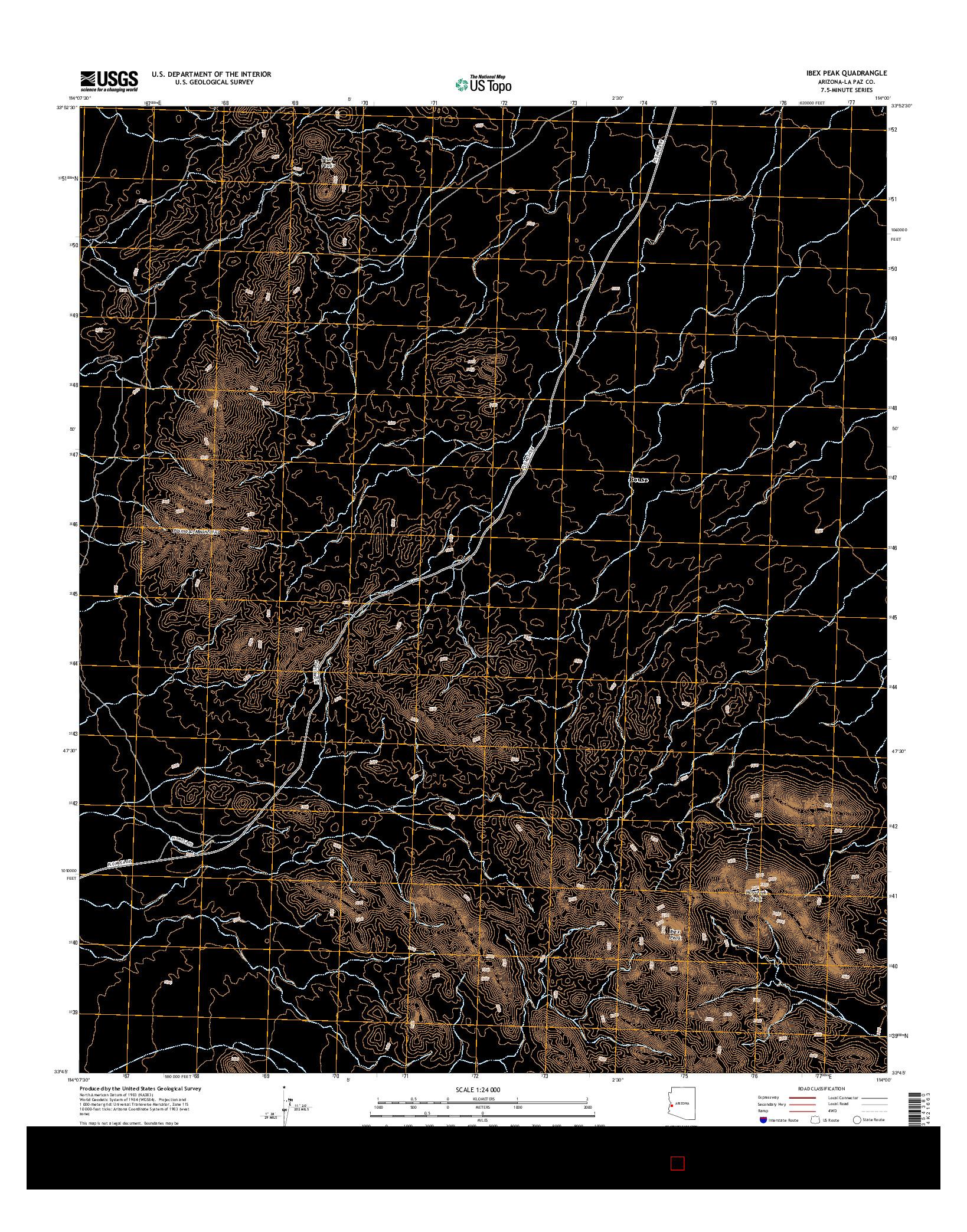 USGS US TOPO 7.5-MINUTE MAP FOR IBEX PEAK, AZ 2014