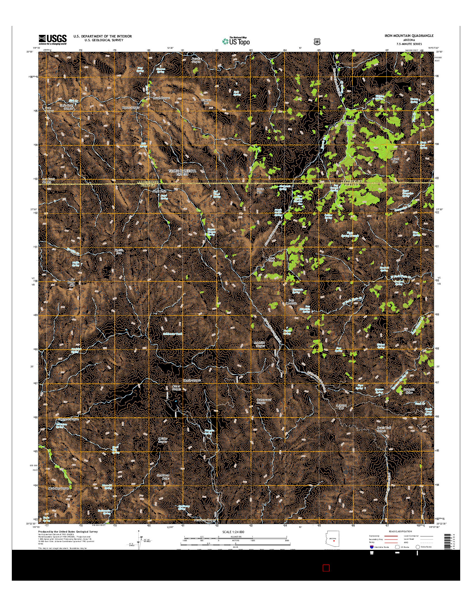 USGS US TOPO 7.5-MINUTE MAP FOR IRON MOUNTAIN, AZ 2014
