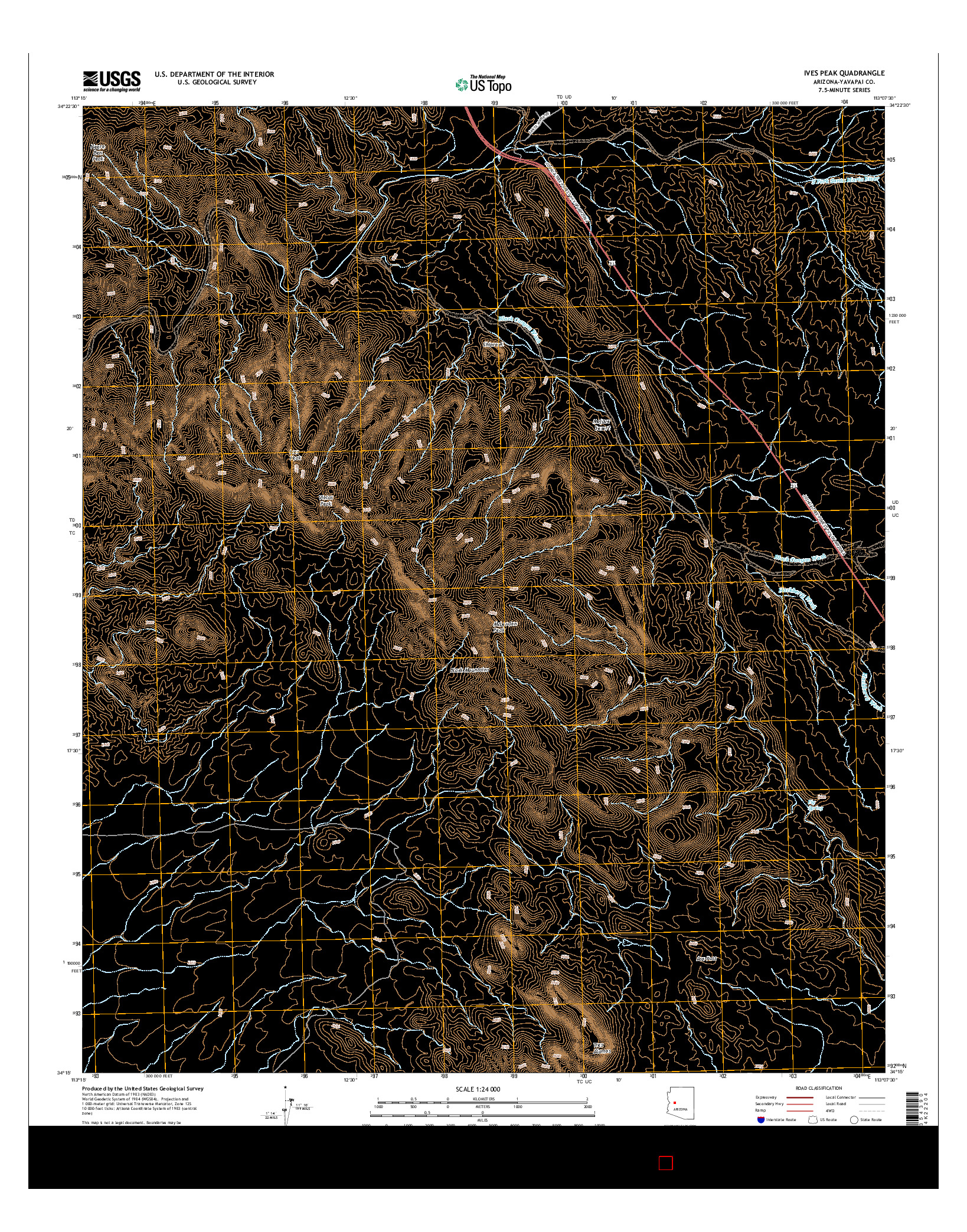 USGS US TOPO 7.5-MINUTE MAP FOR IVES PEAK, AZ 2014
