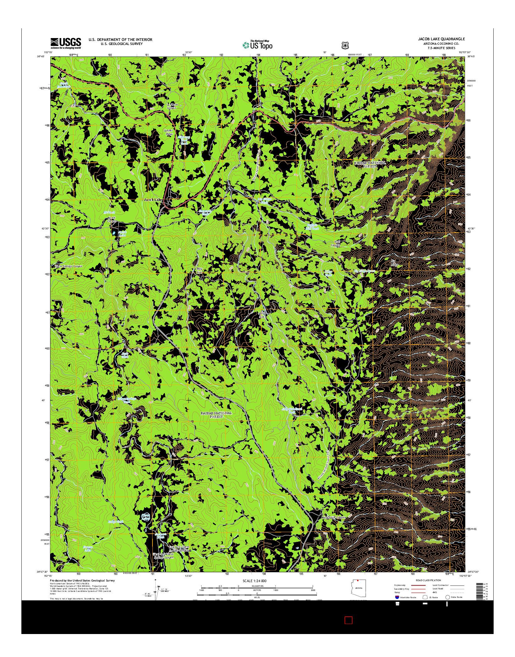 USGS US TOPO 7.5-MINUTE MAP FOR JACOB LAKE, AZ 2014